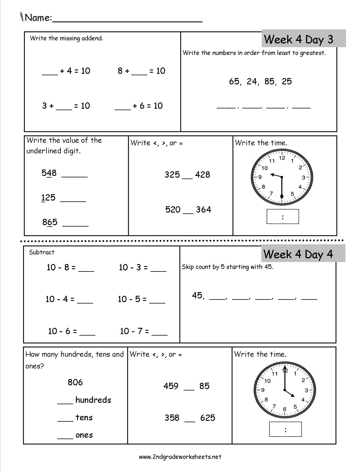 Math Second Worksheet 2nd Grade Time