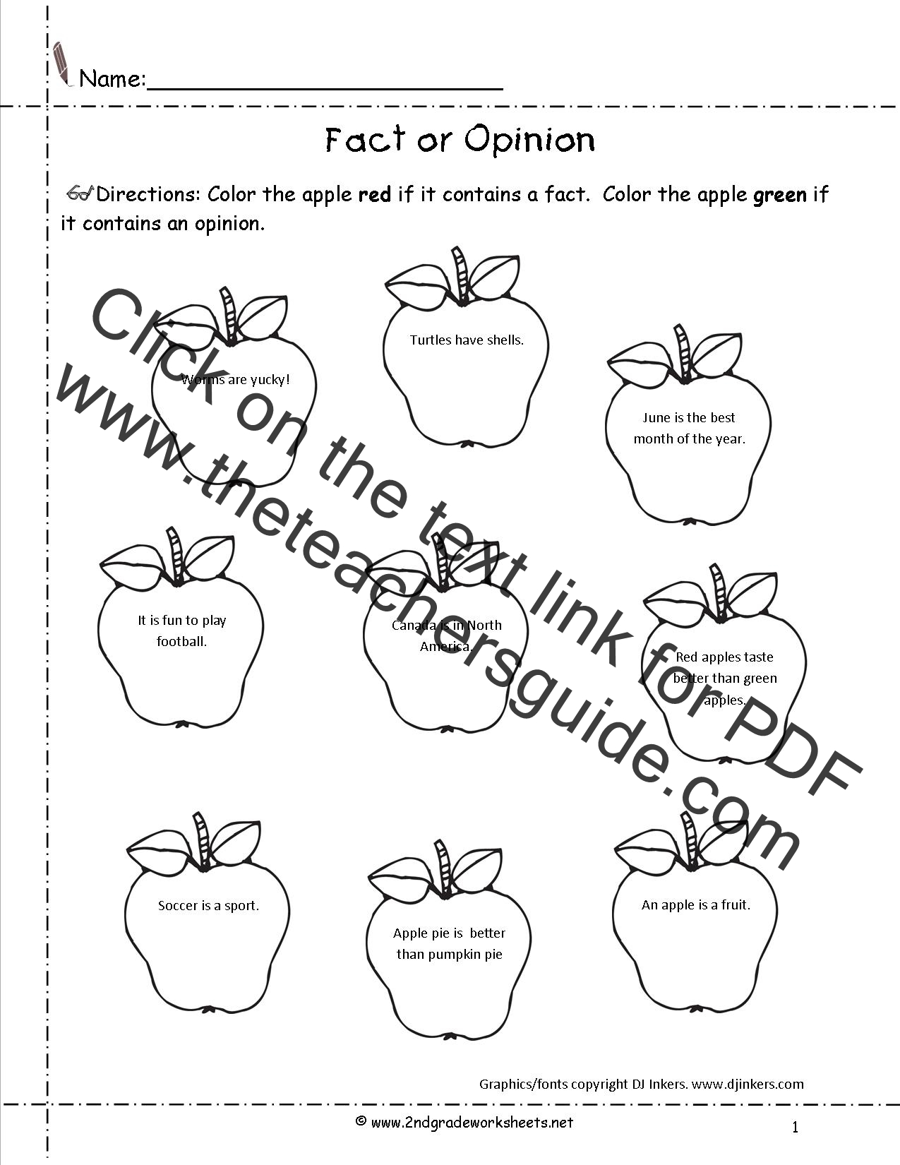Fact And Opinion Worksheet 2nd