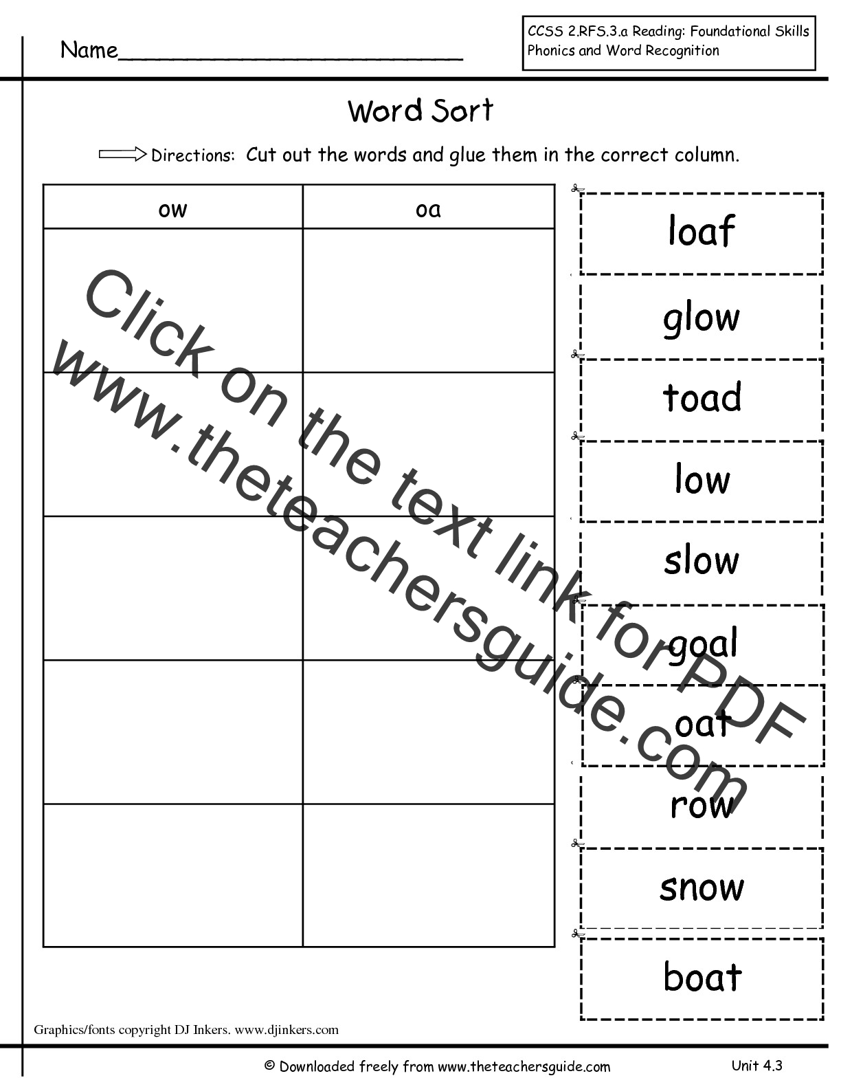 Wonders First Grade Unit Four Week Three Printouts