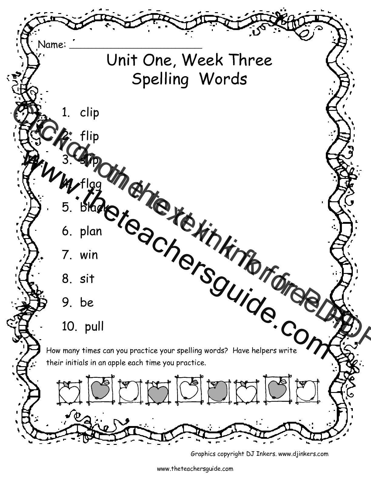 Wonders First Grade Unit One Week Three Printouts