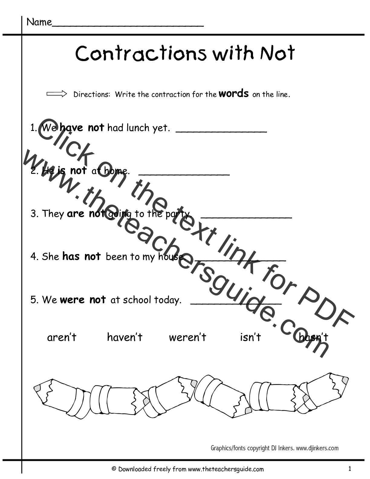Search Results For Contraction Words Worksheets