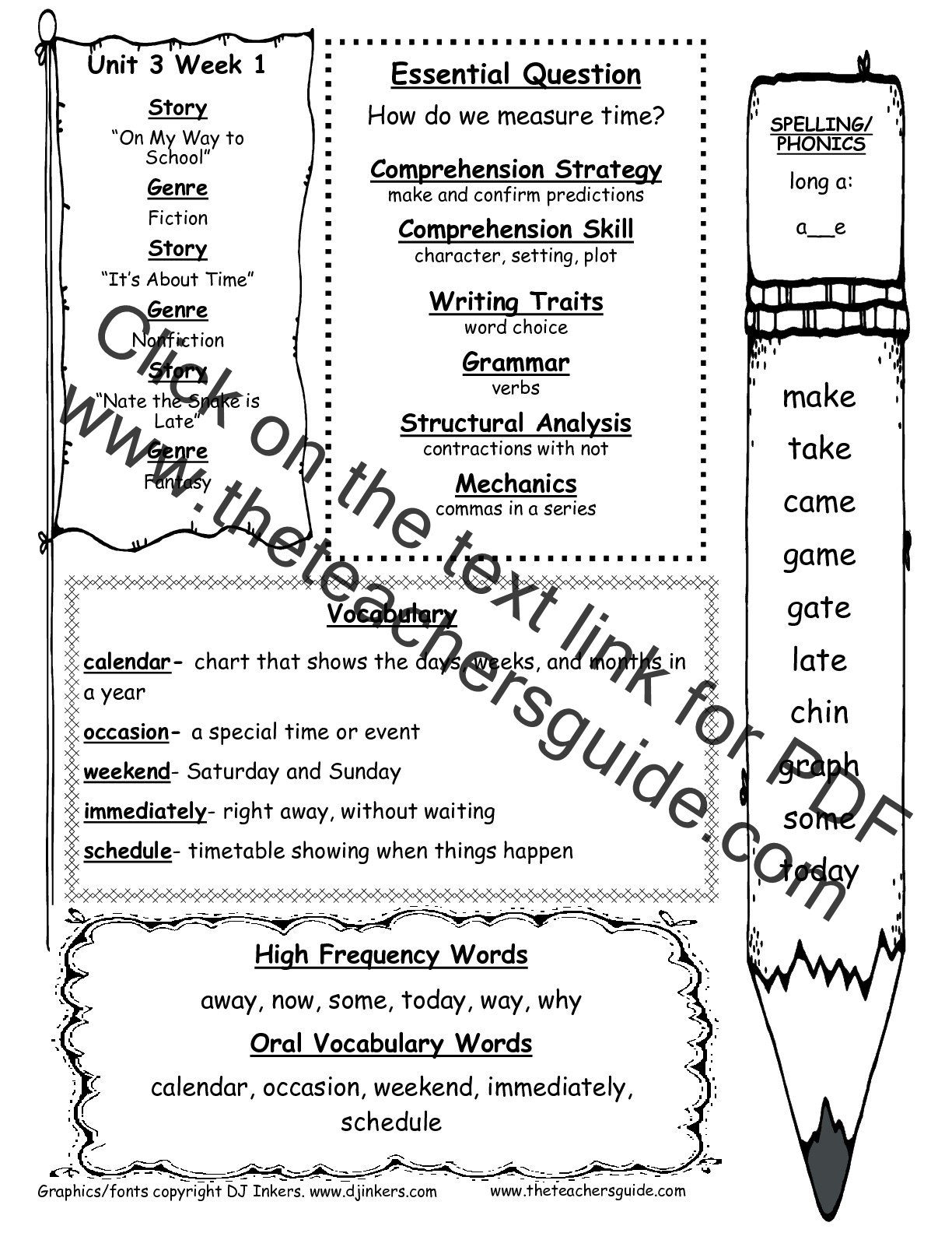 Daily Activities Worksheet 1st Grade