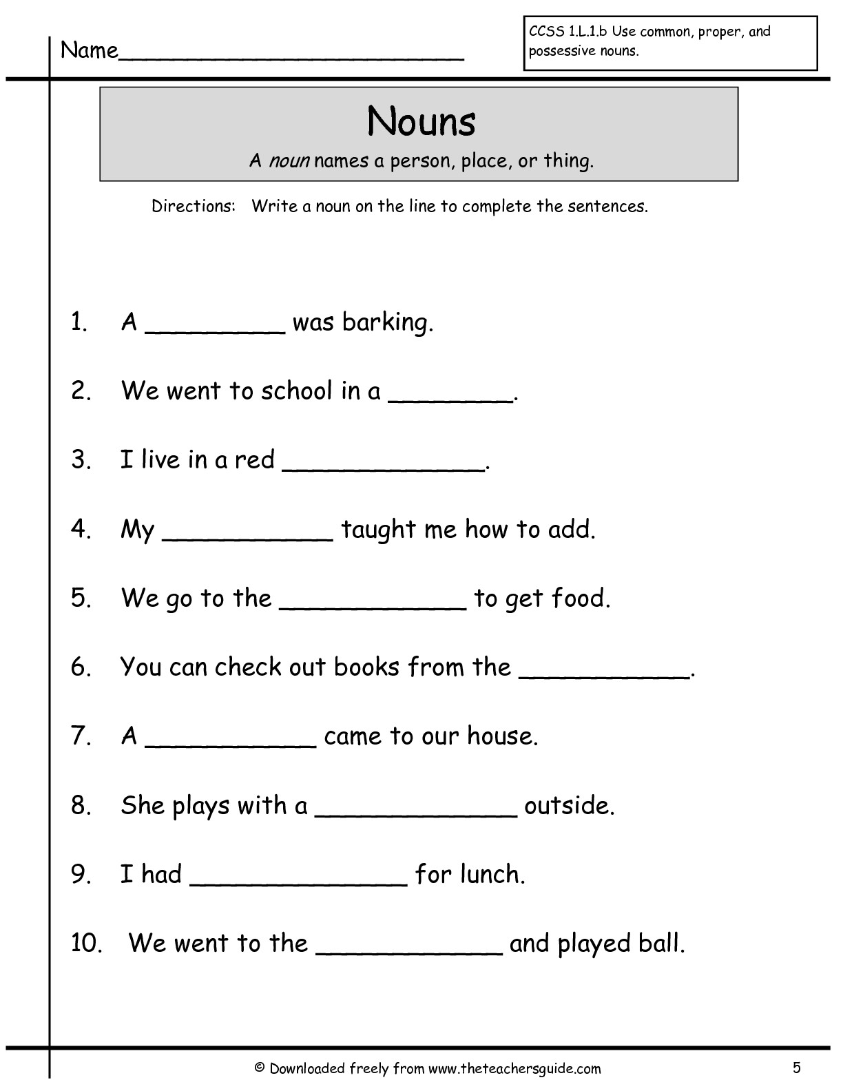 New 943 First Grade Noun Printables