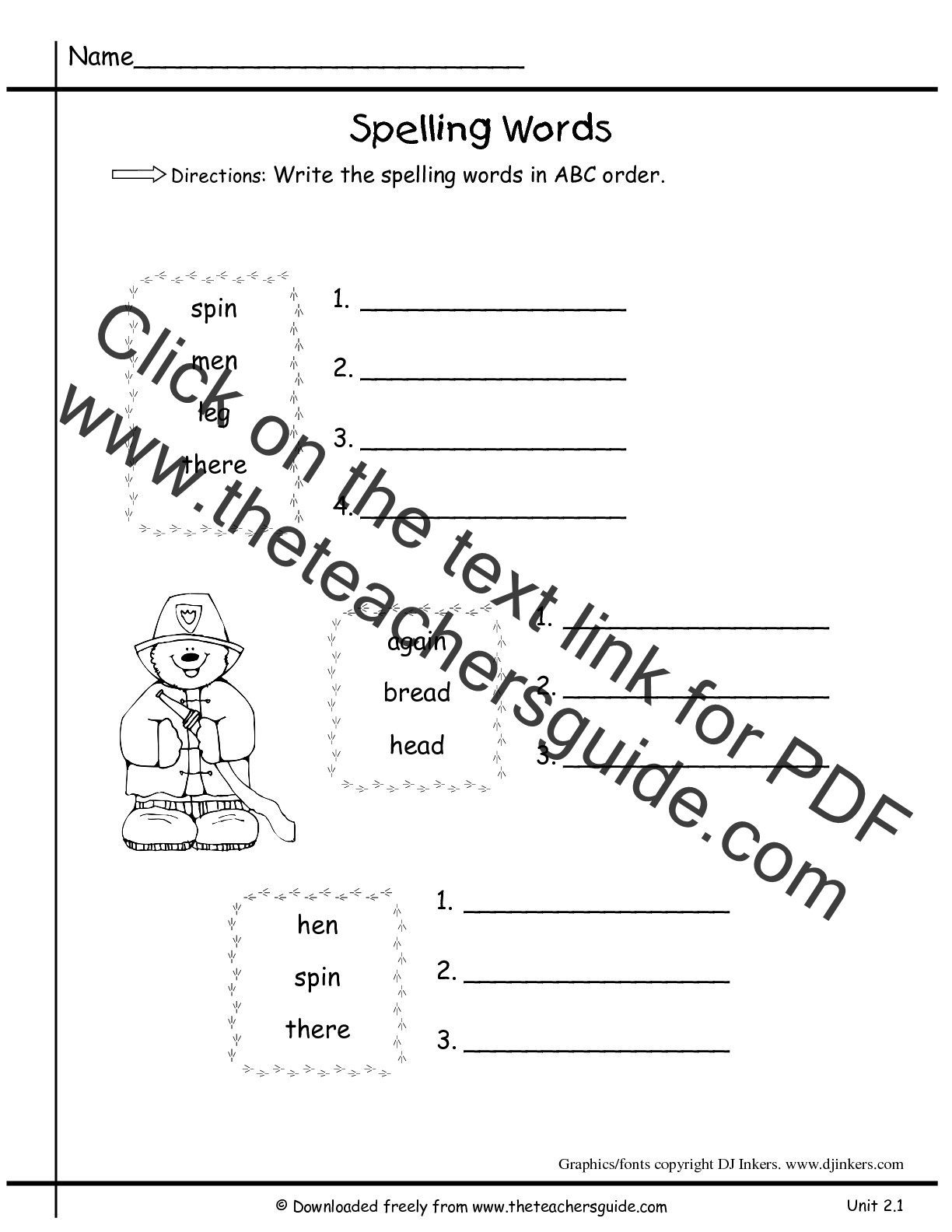 Abc Order Spelling Worksheet Blank