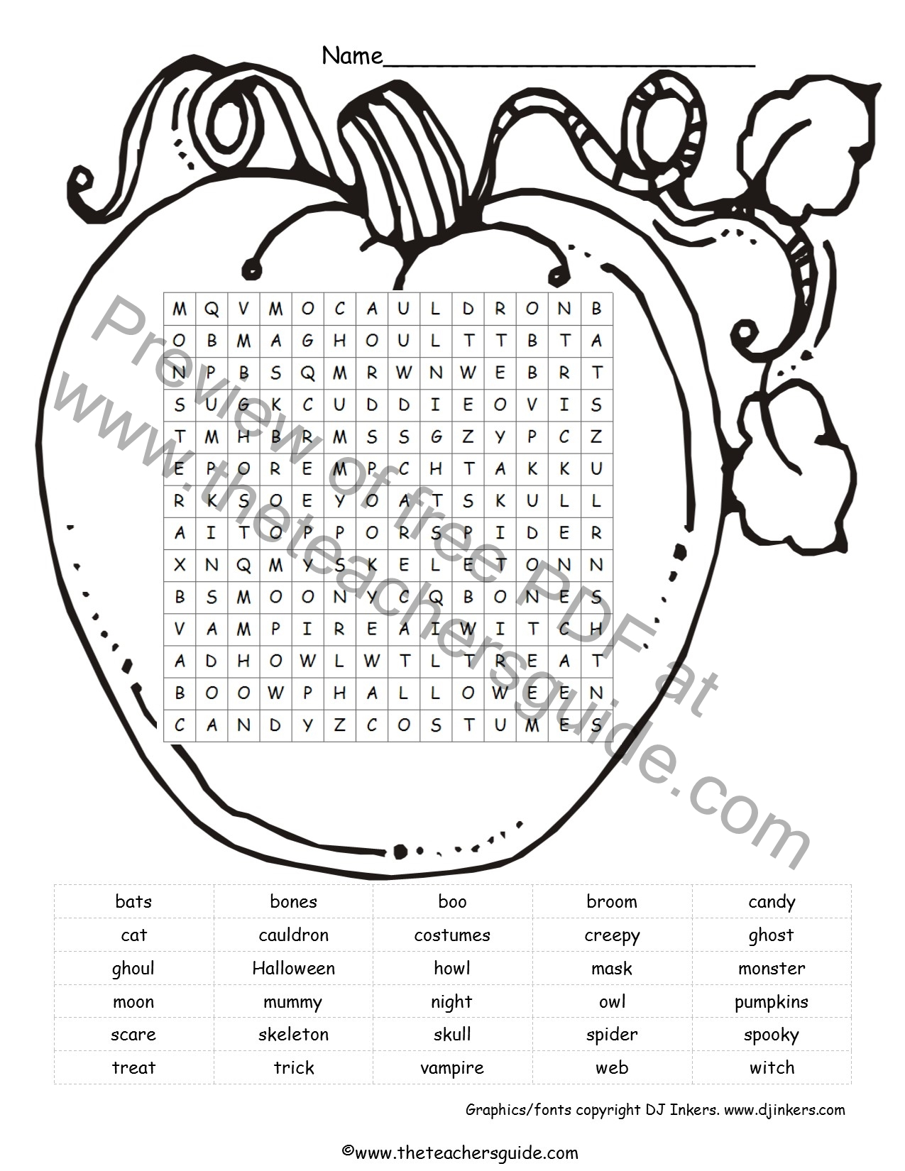 Halloween Worksheets Language Arts