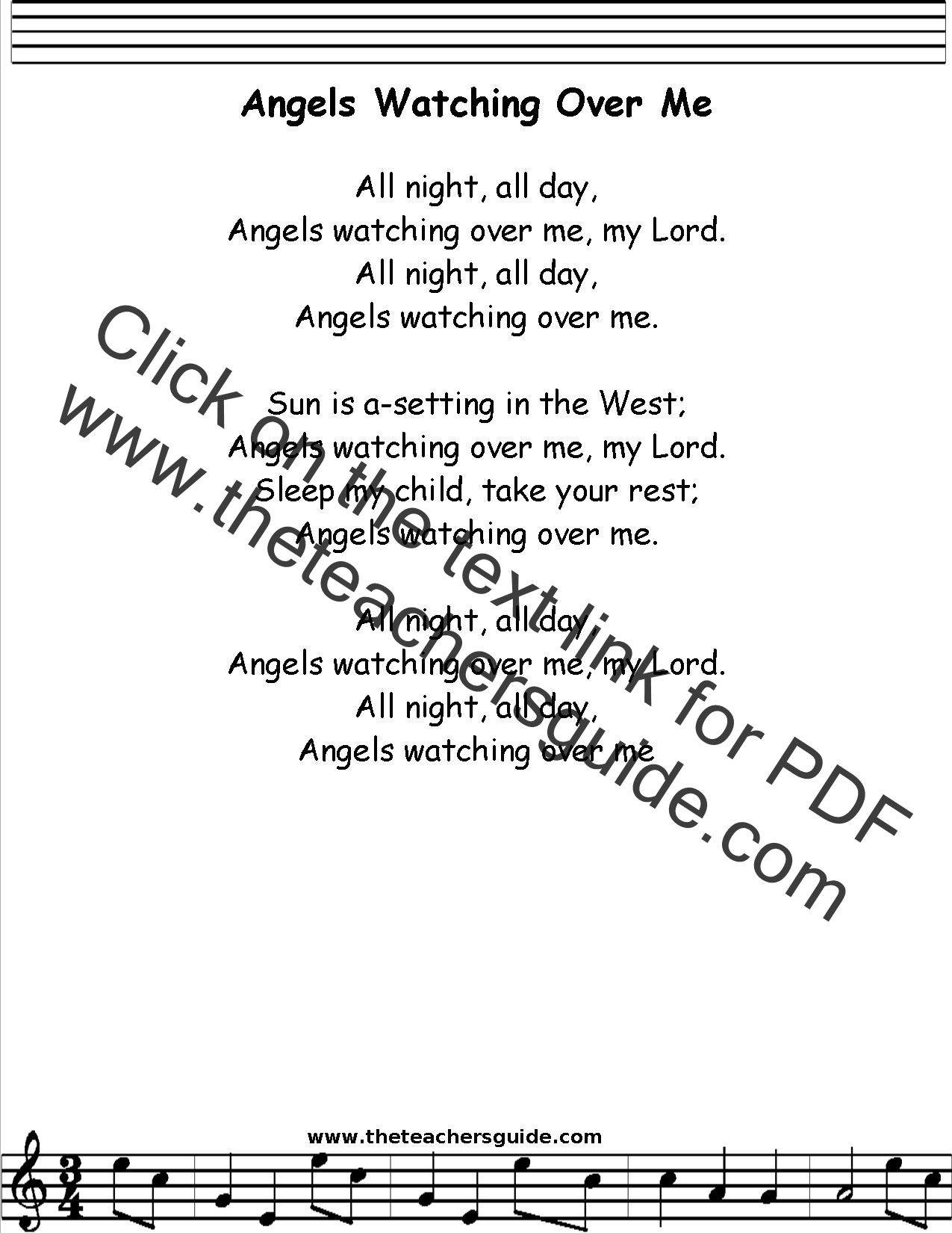 Angels Watching Over Me Lyrics Printout Midi And Video