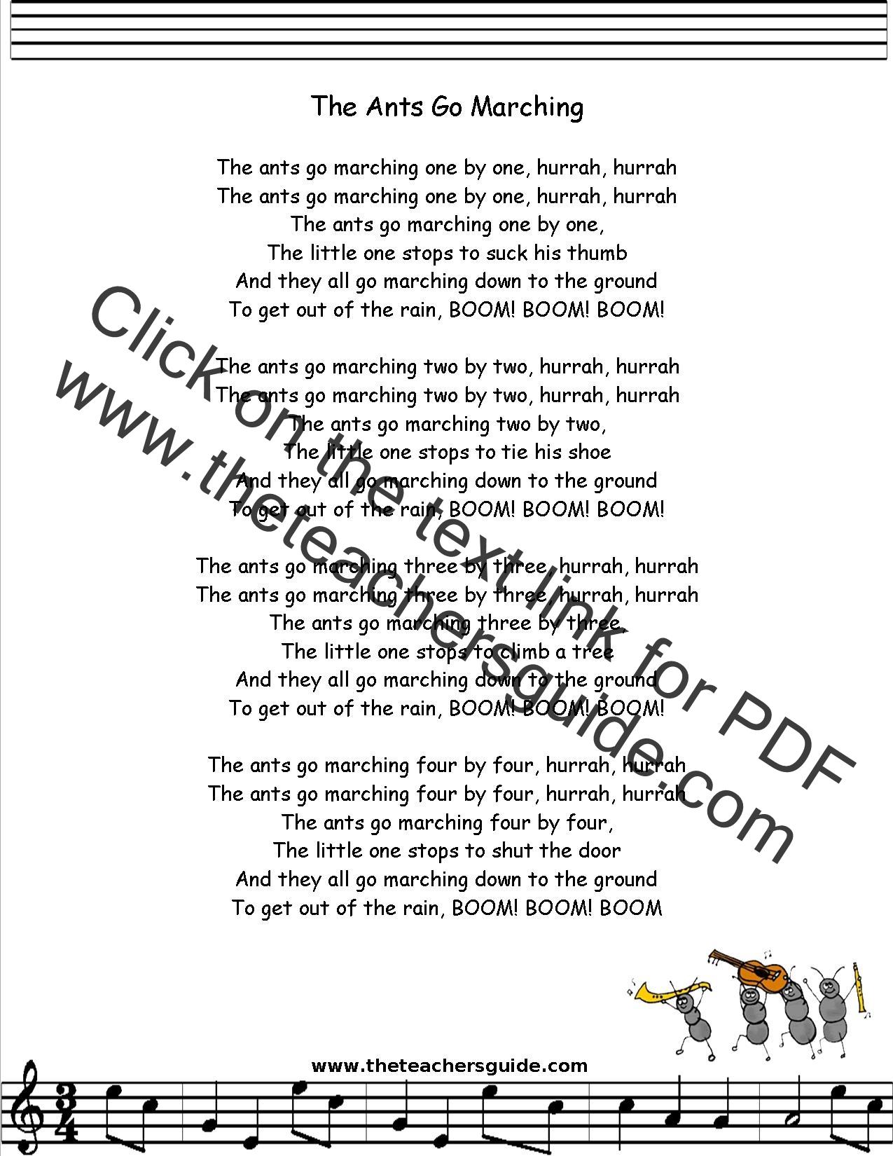 The Ants Go Marching Lyrics Printout Midi And Video