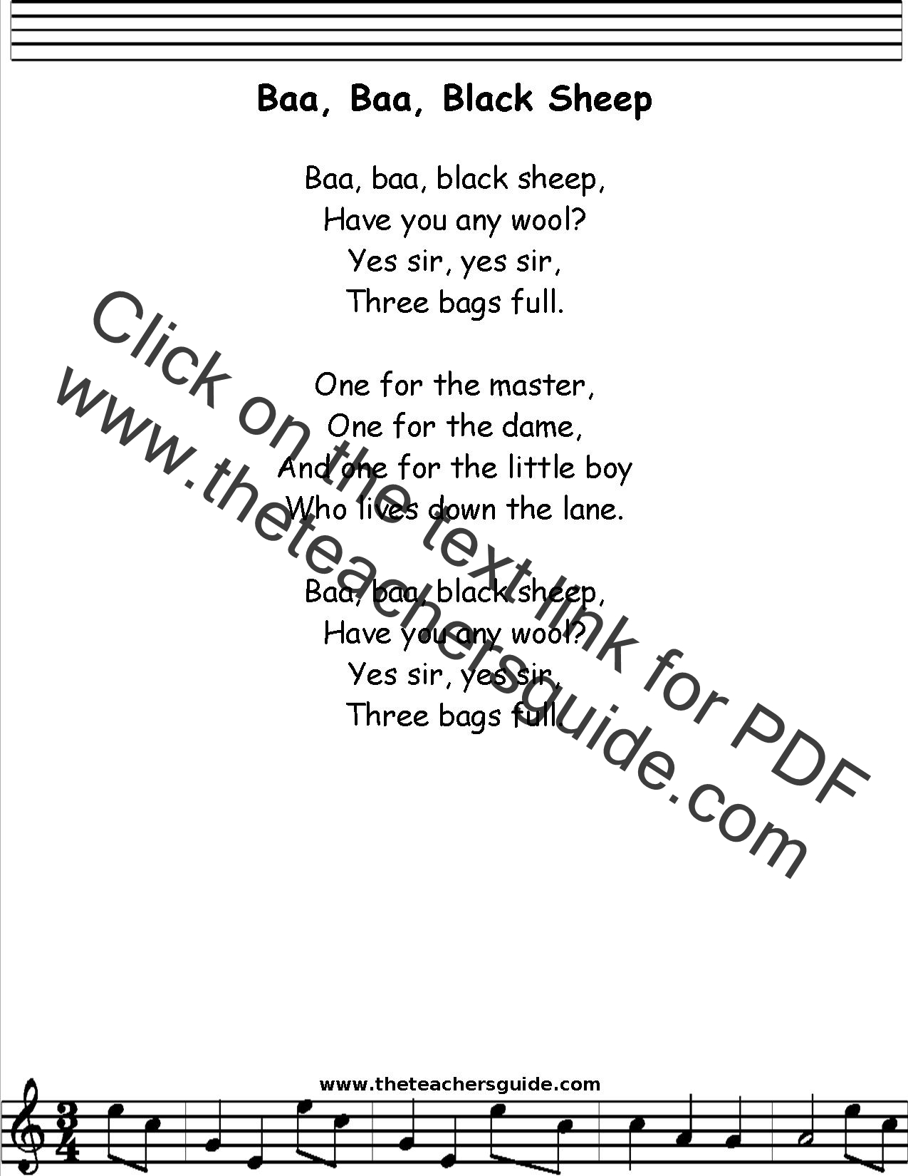 Baa Baa Black Sheep Lyrics Printout Midi And Video