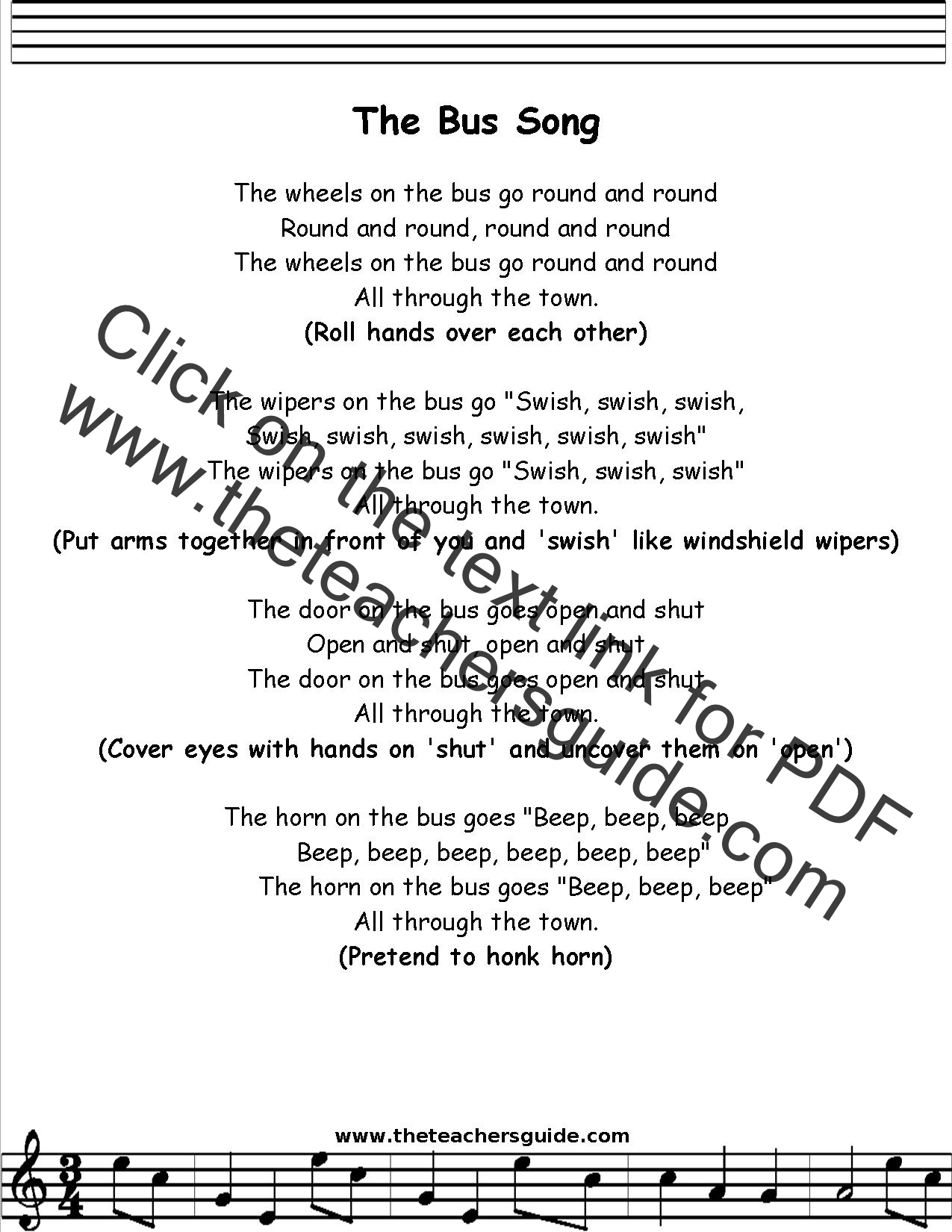 The Wheels On The Bus Lyrics Printout Midi And Video