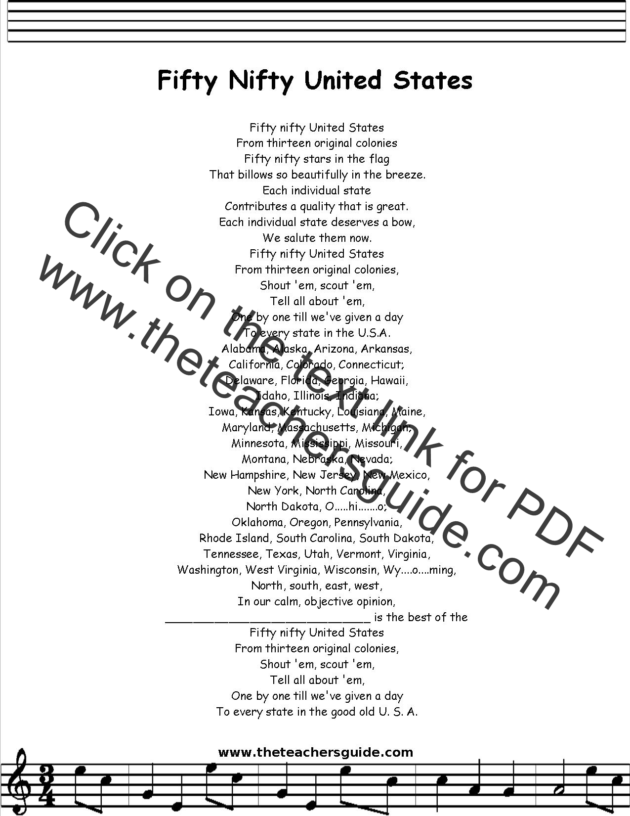 Fifty Nifty United States Lyrics Printout Midi And Video