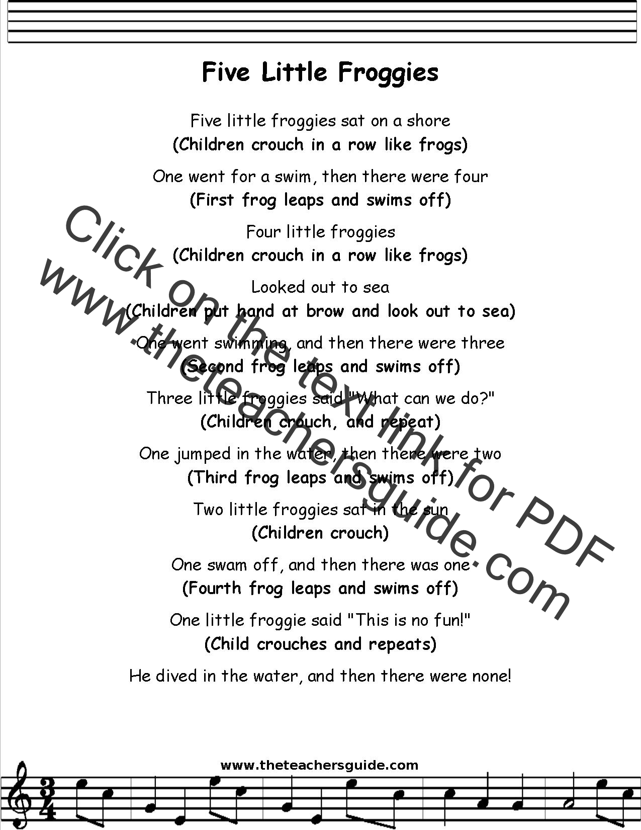Five Little Froggies Lyrics Printout Midi And Video
