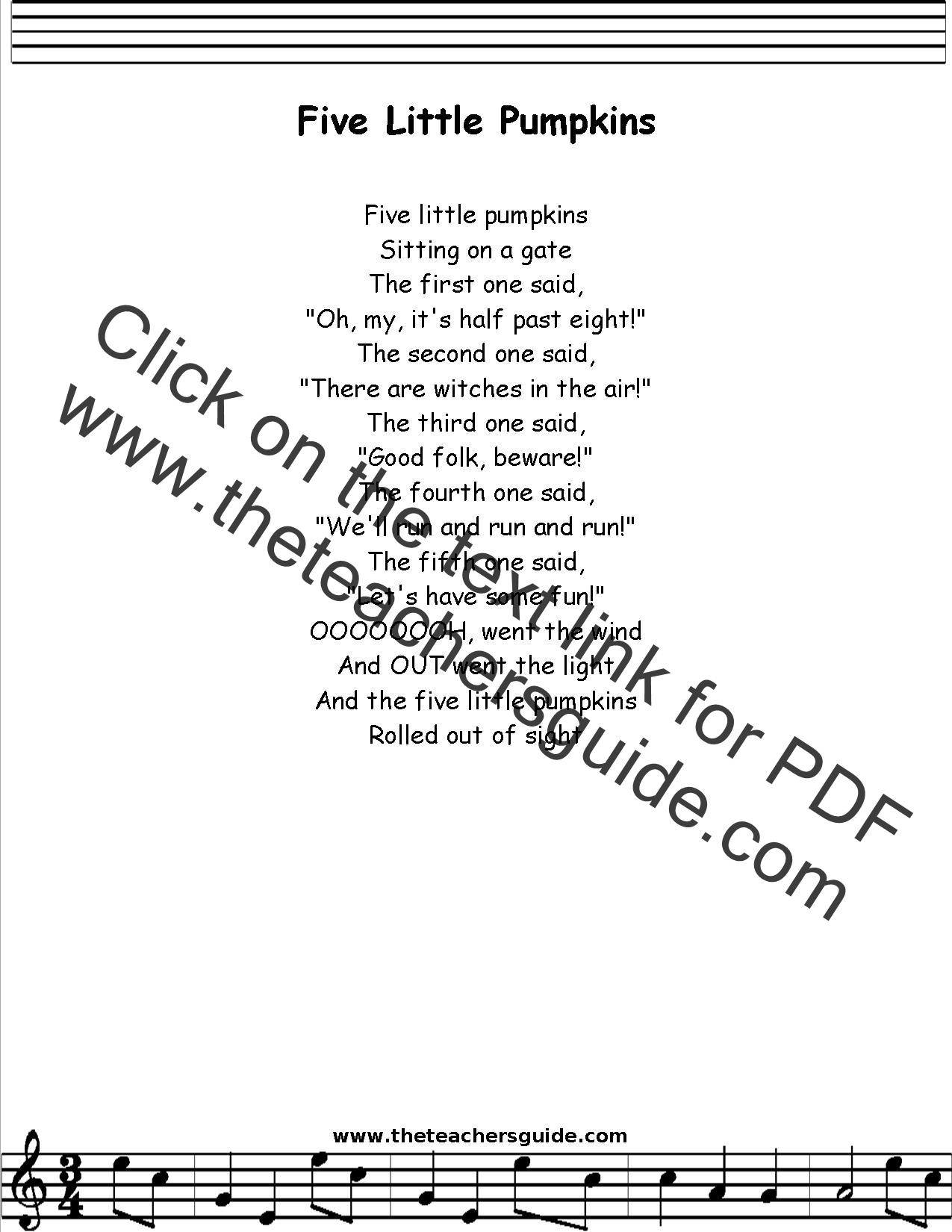 Five Little Pumpkins Lyrics Printout Midi And Video