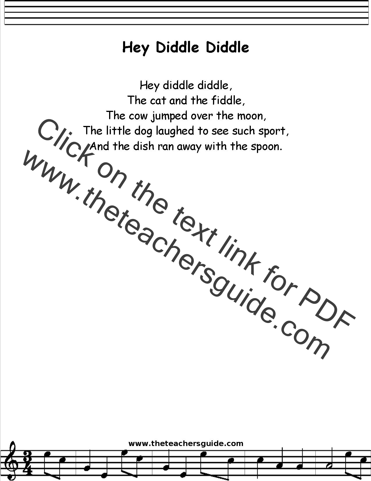Hey Diddle Diddle Lyrics Printout Midi And Video