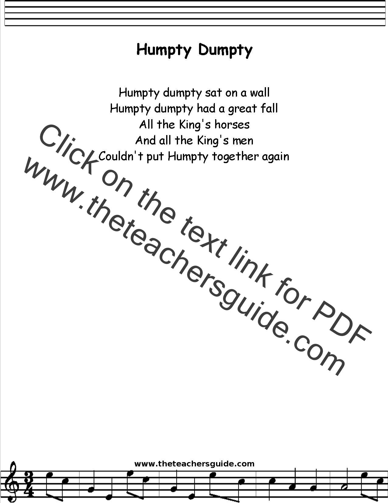 Humpty Dumpty Lyrics Printout Midi And Video