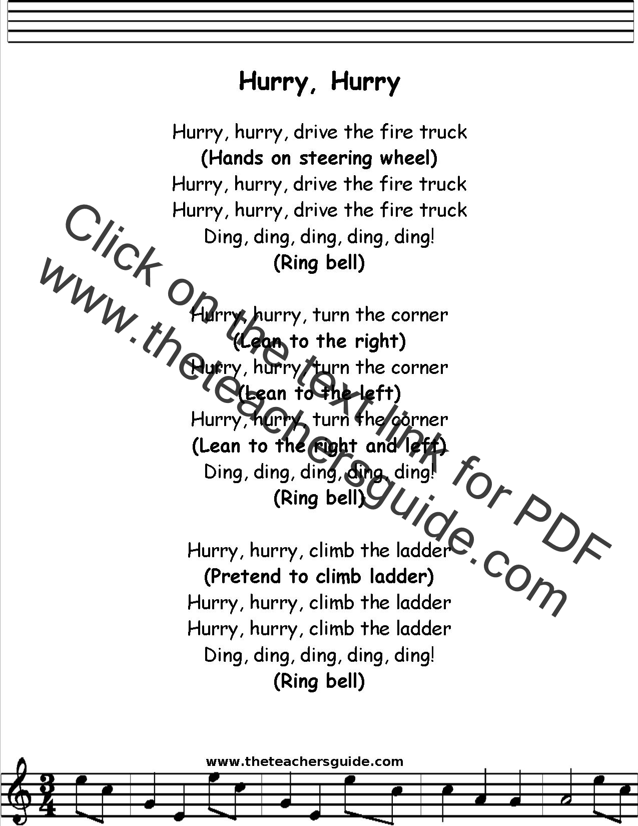 Hurry Hurry Drive The Truck Lyrics Printout Midi And Video