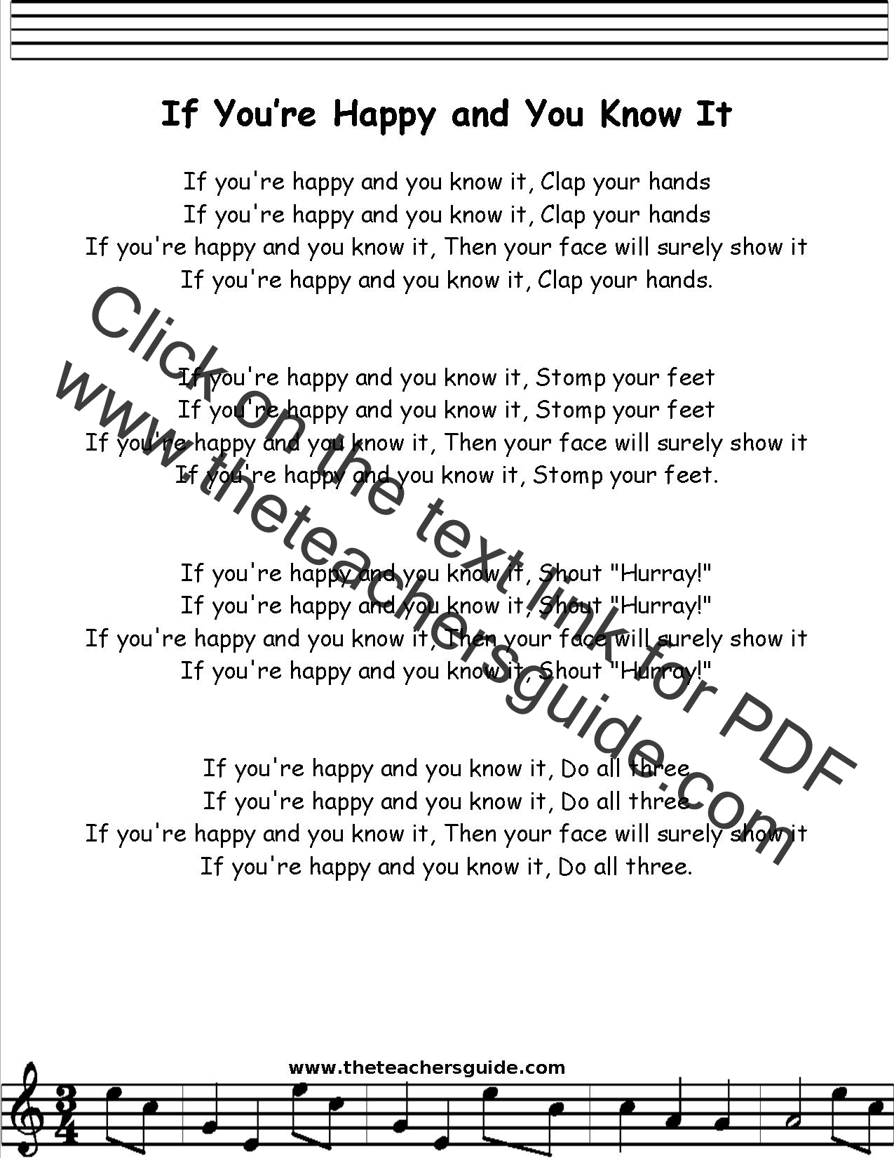 If You Re Happy And You Know It Lyrics Printout Midi And Video