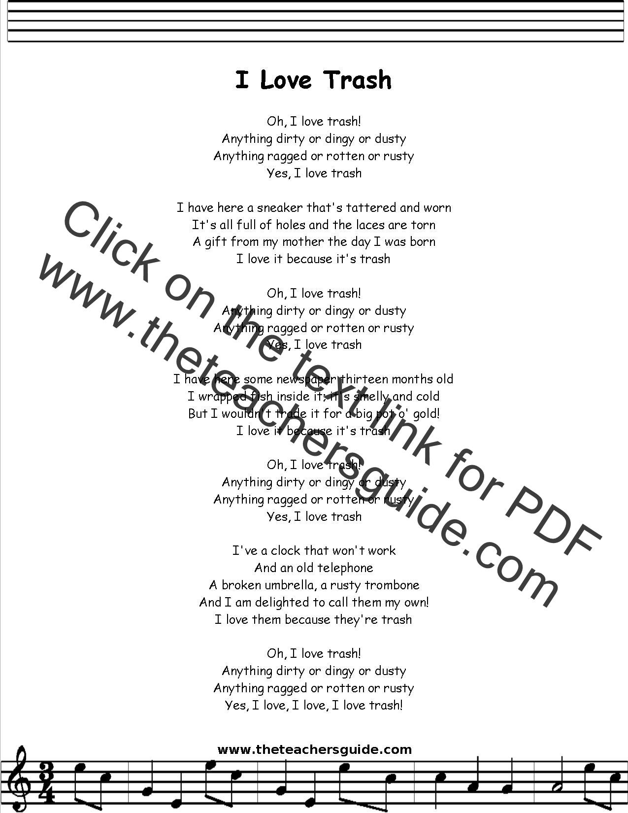 I Love Trash Lyrics Printout Midi And Video