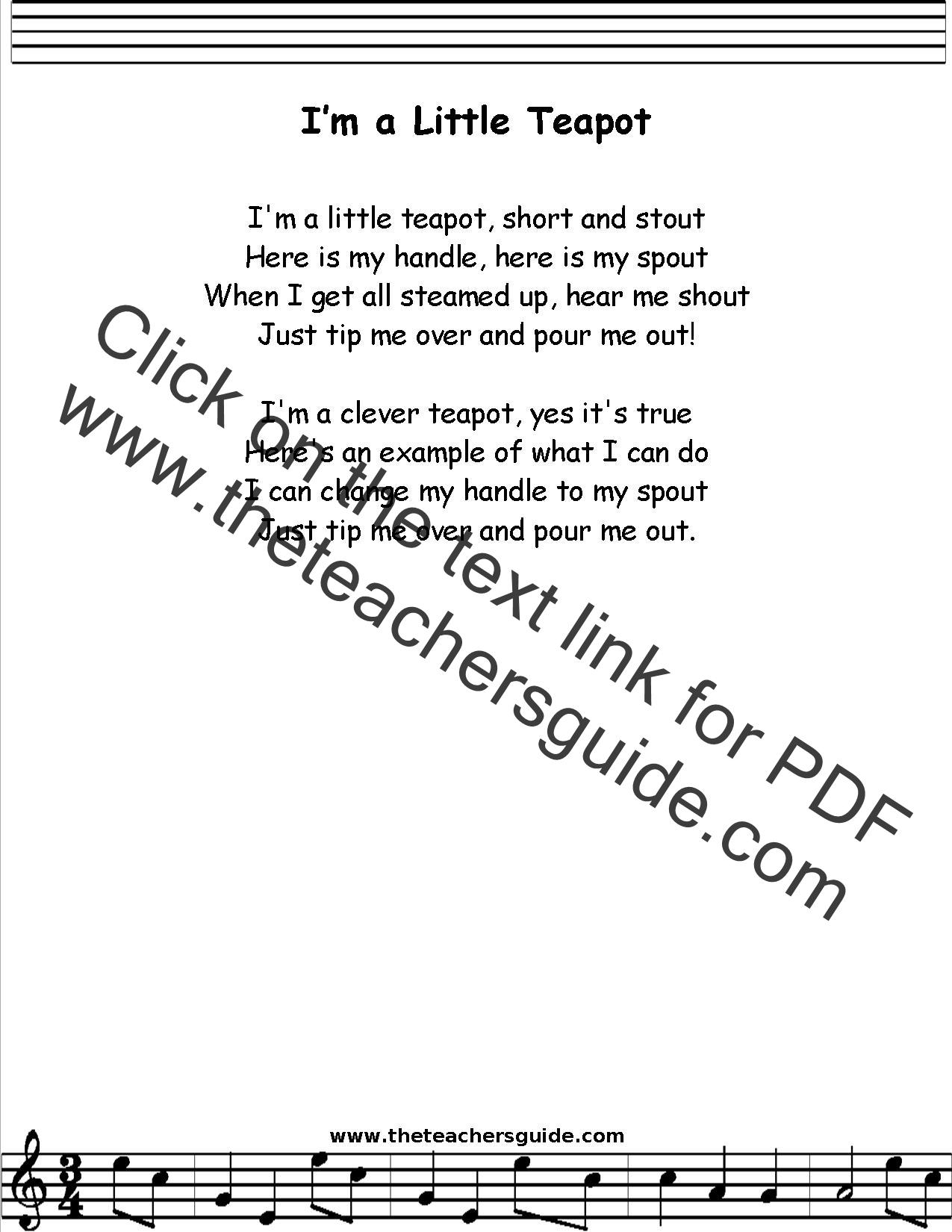 I M A Little Teapot Lyrics Printout Midi And Video