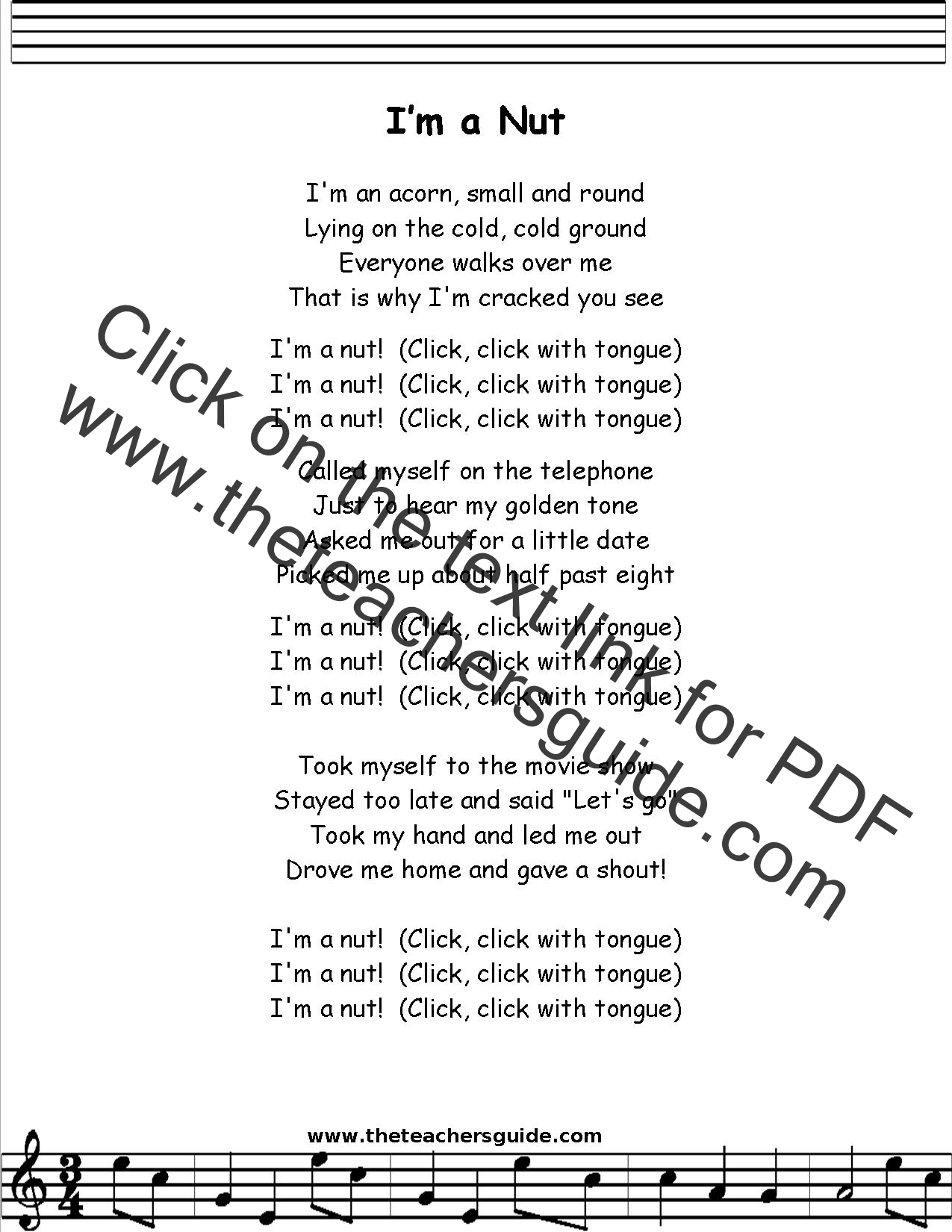 I M A Nut Lyrics Printout Midi And Video