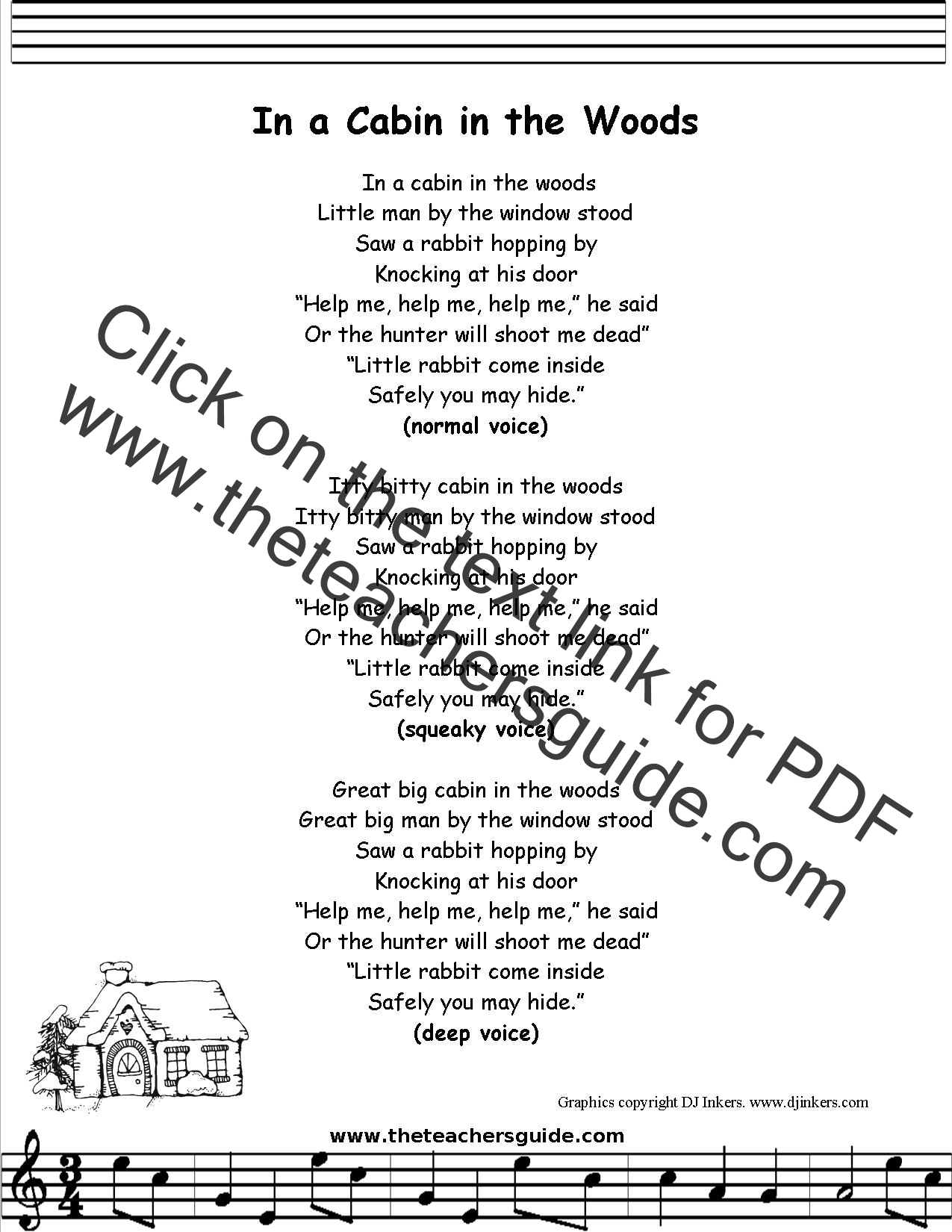In A Cabin In The Woods Lyrics Printout Midi And Video