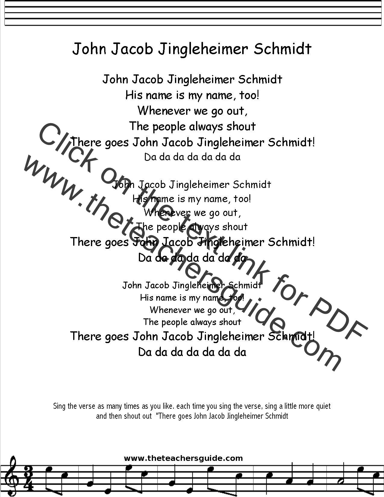 John Jacob Jingleheimer Schmidt Lyrics Printout Midi And Video
