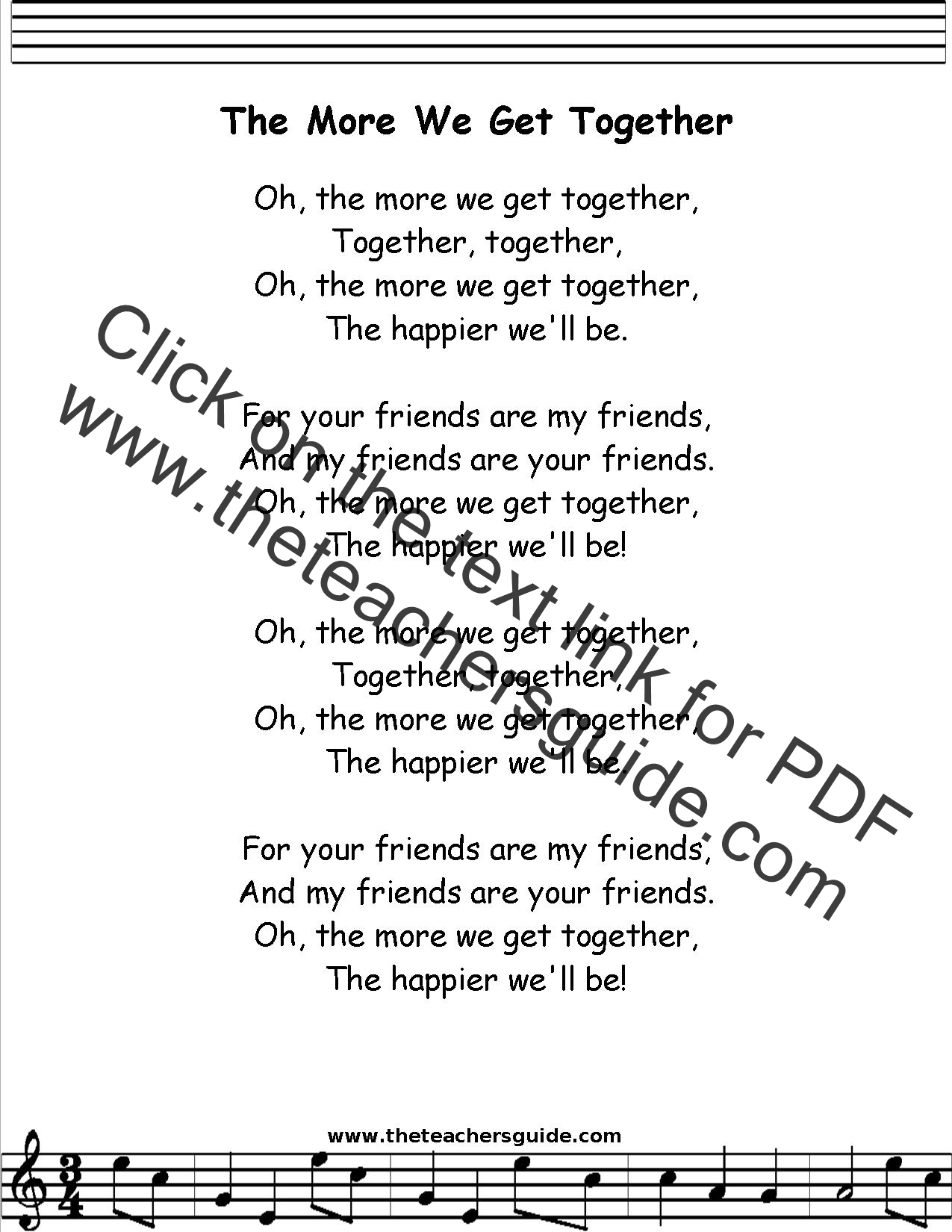 The More We Get Together Lyrics Printout Midi And Video