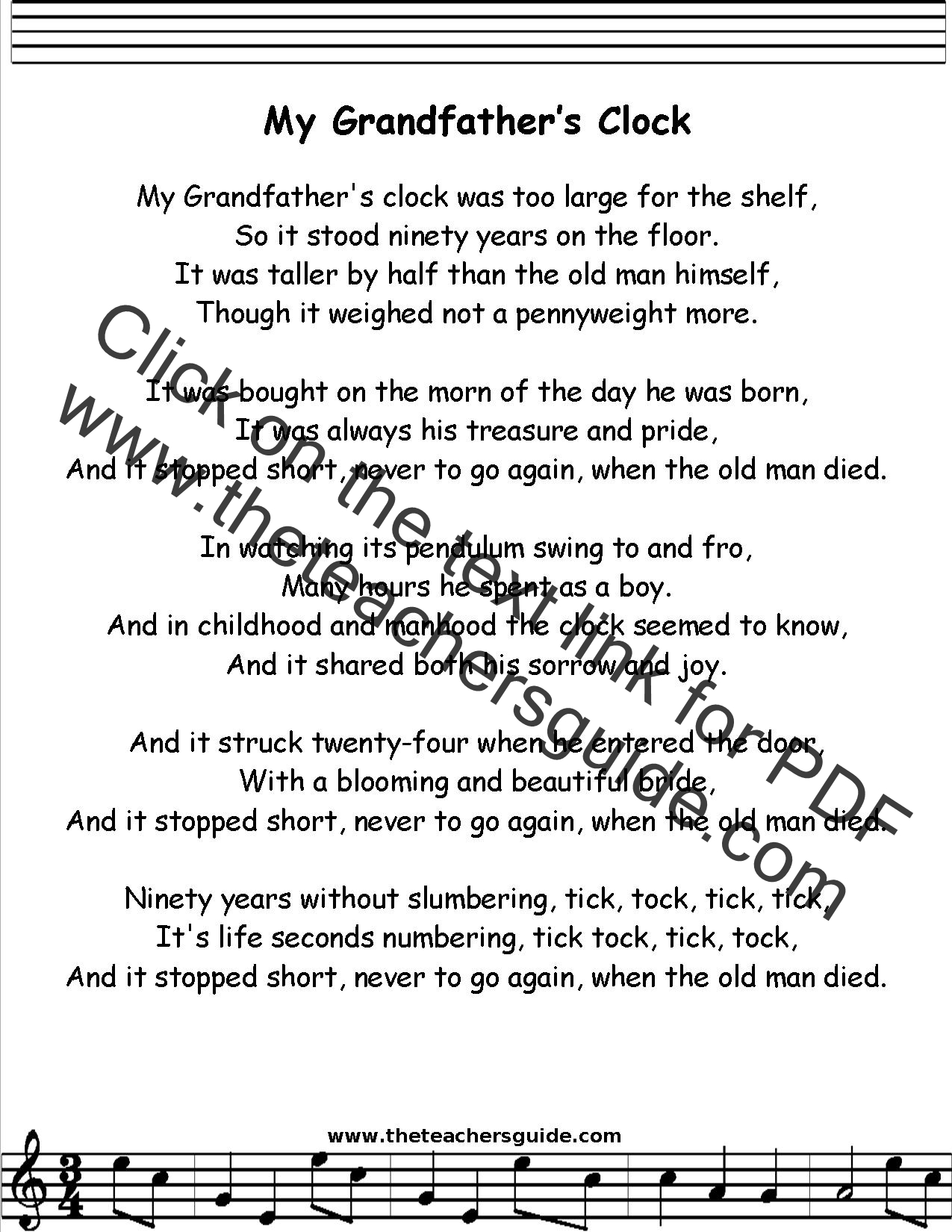 My Grandfather S Clock Lyrics Printout Midi And Video