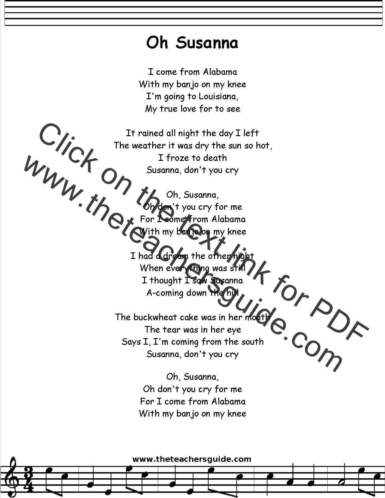 Oh Susana Lyrics Printout Midi And Video