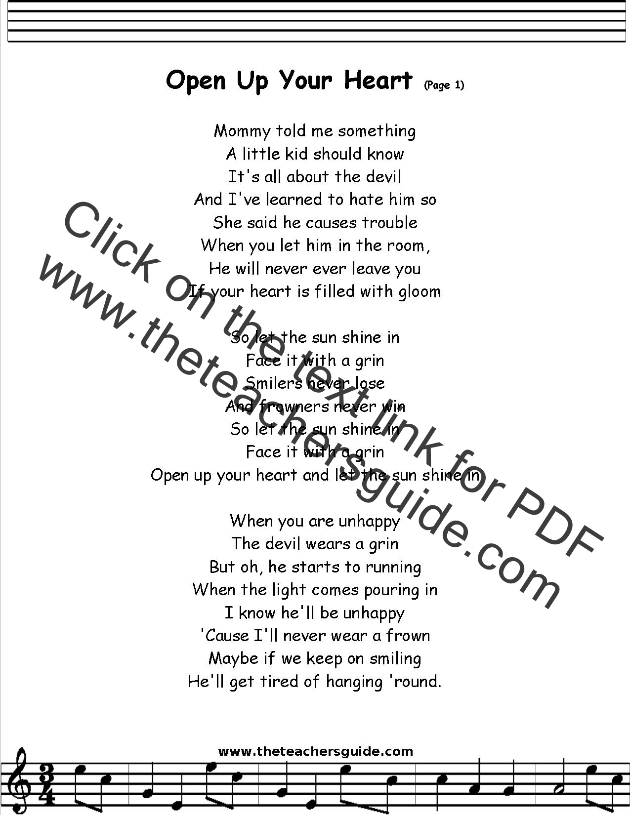 Open Up Your Heart Lyrics Printout Midi And Video