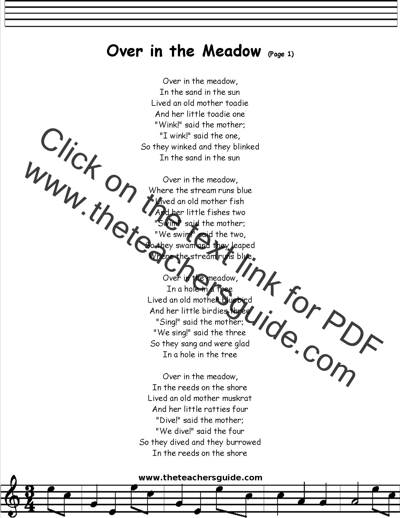 Over In The Meadow Lyrics Printout Midi And Video