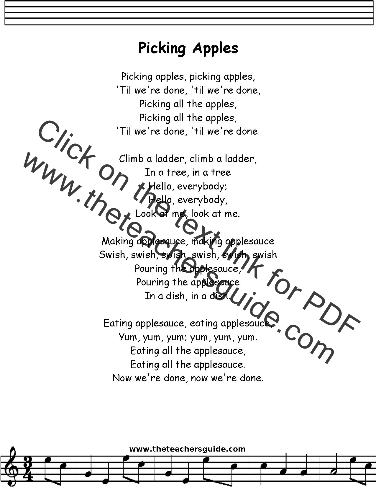 Picking Apples Lyrics Printout Midi And Video