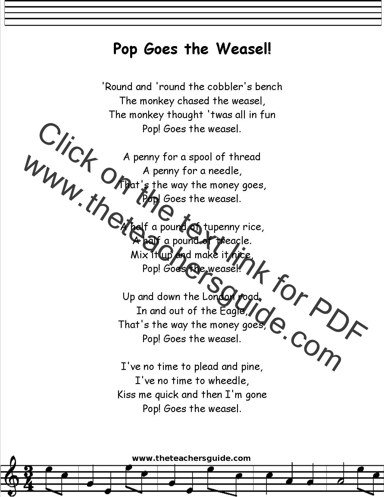 Pop Goes The Weasel Lyrics Printout Midi And Video