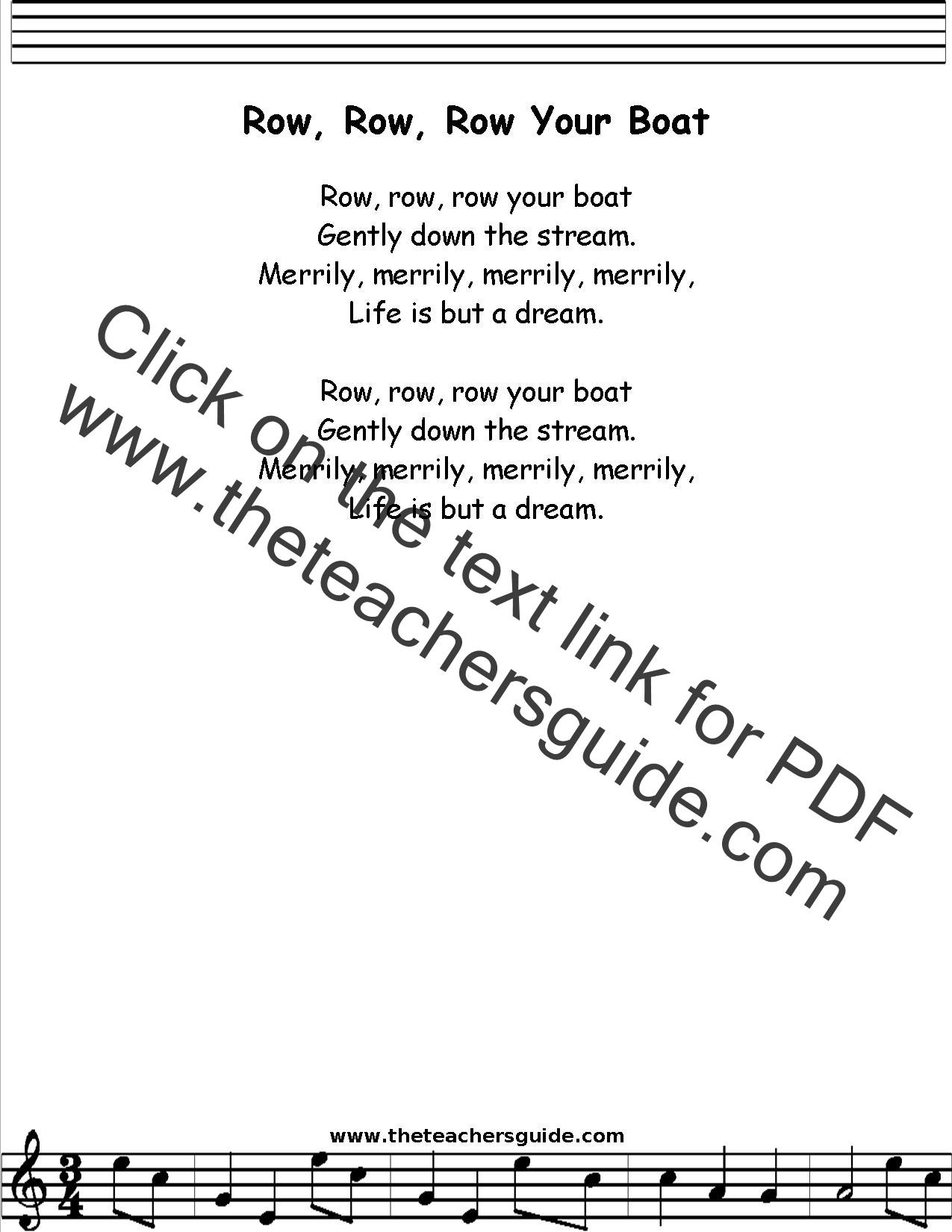 Row Row Row Your Boat Lyrics Printout Midi And Video