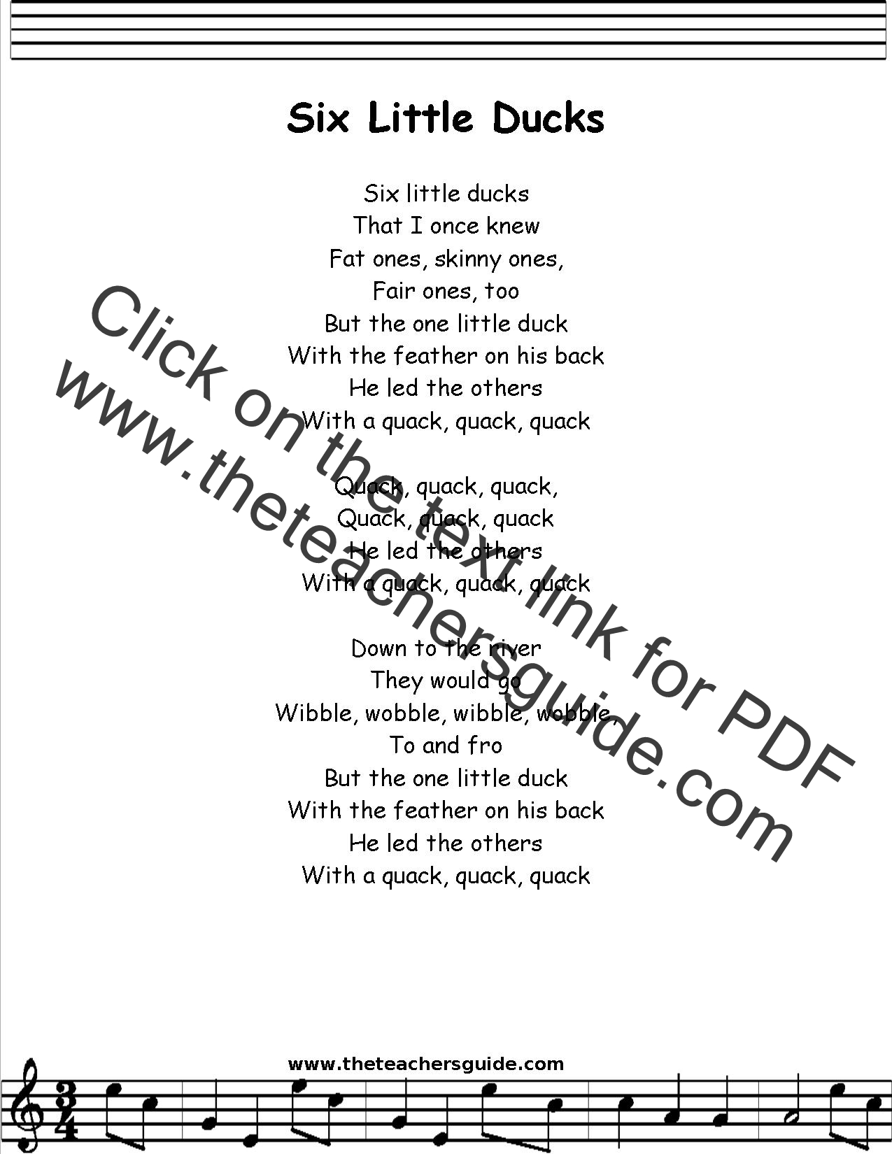 Six Little Ducks Lyrics Printout Midi And Video