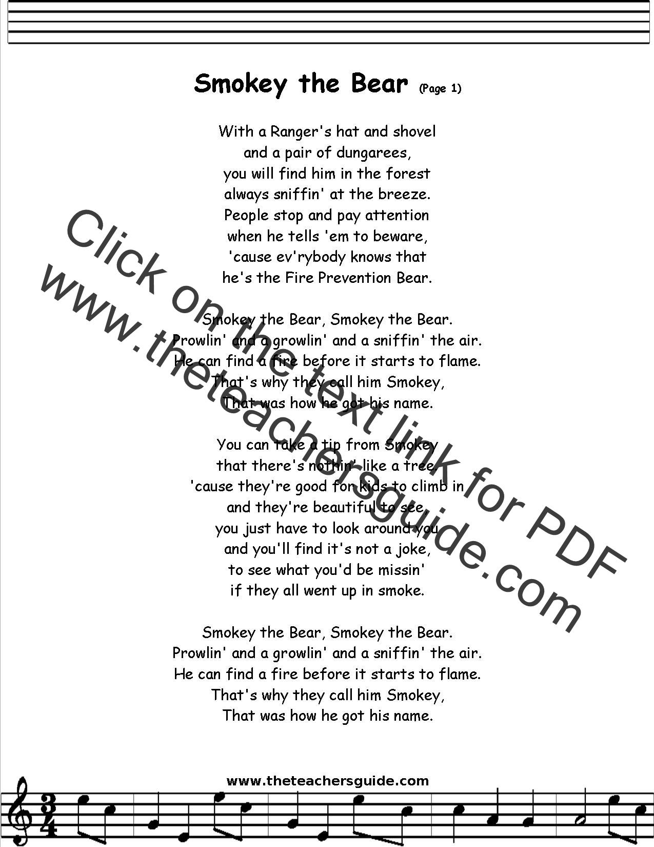 Smokey The Bear Lyrics Printout Midi And Video