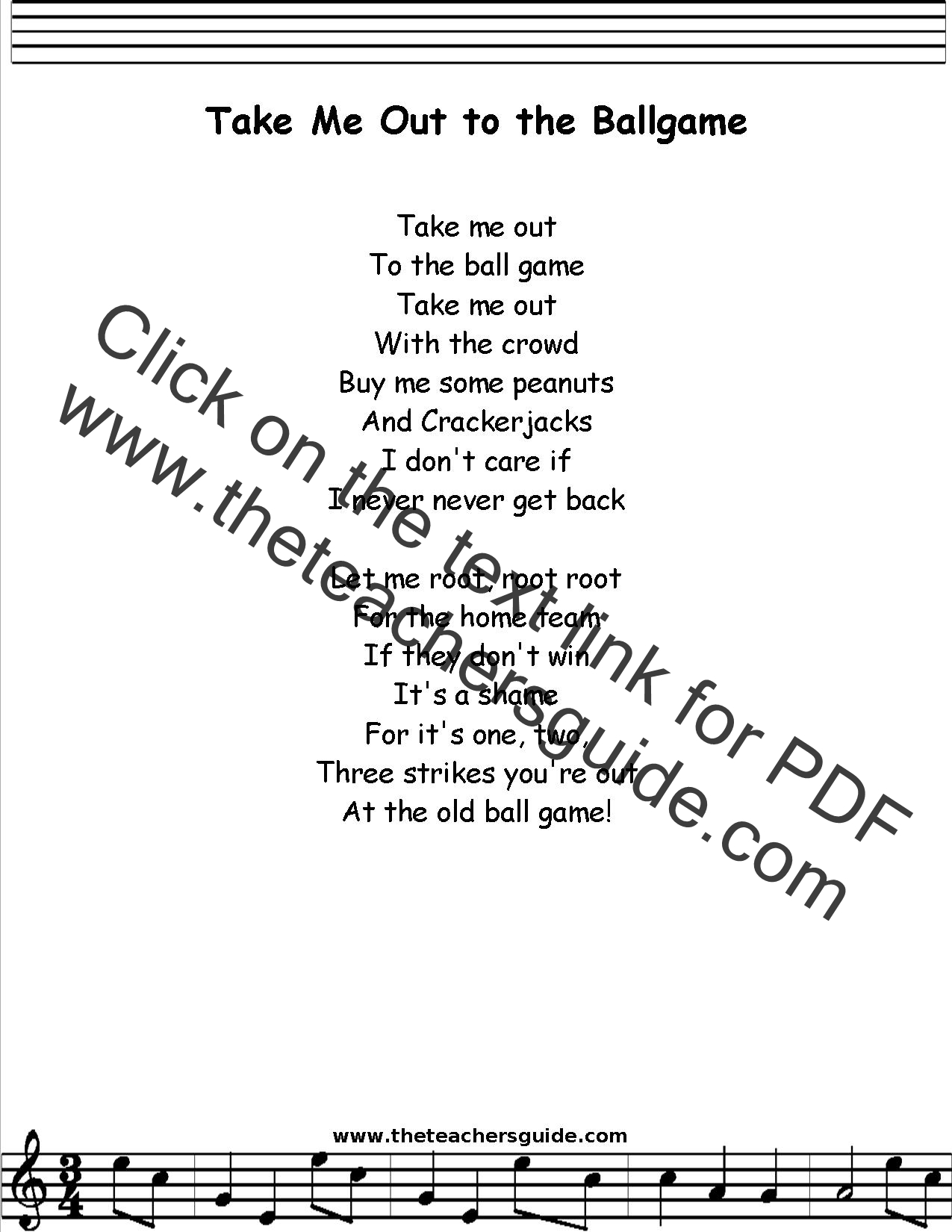 Take Me Out To The Ballgame Lyrics Printout Midi And Video
