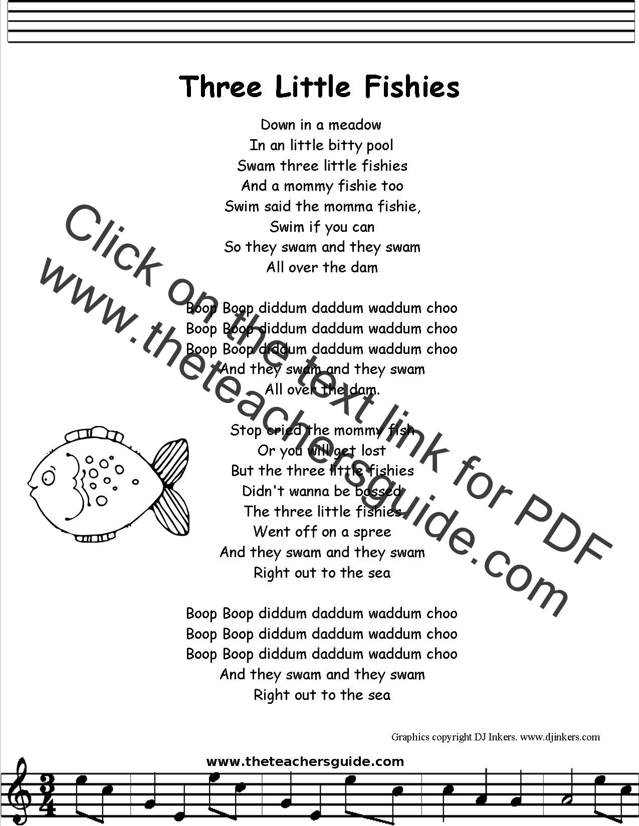 Three Little Fishies Lyrics Printout Midi And Video