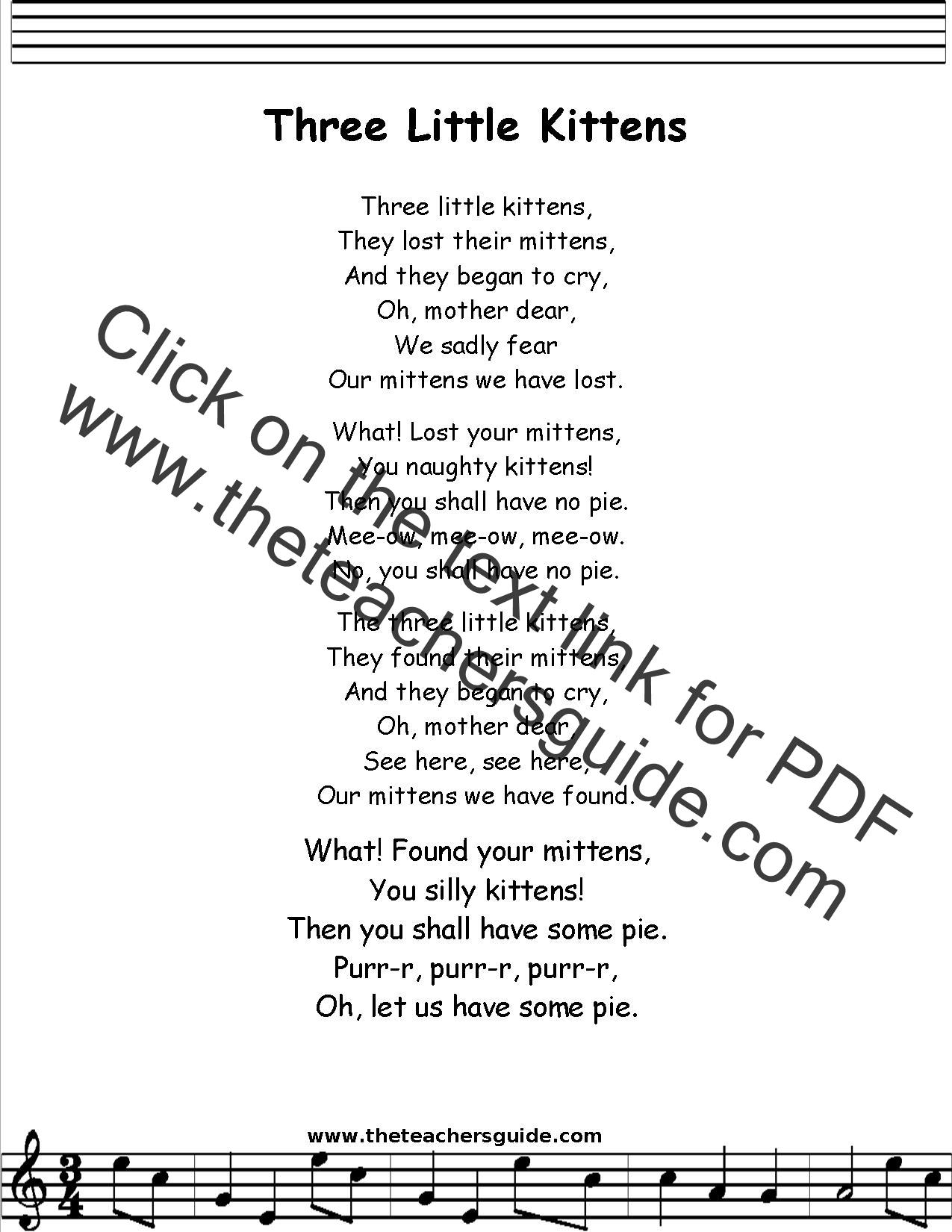 Three Little Kittens Lyrics Printout Midi And Video