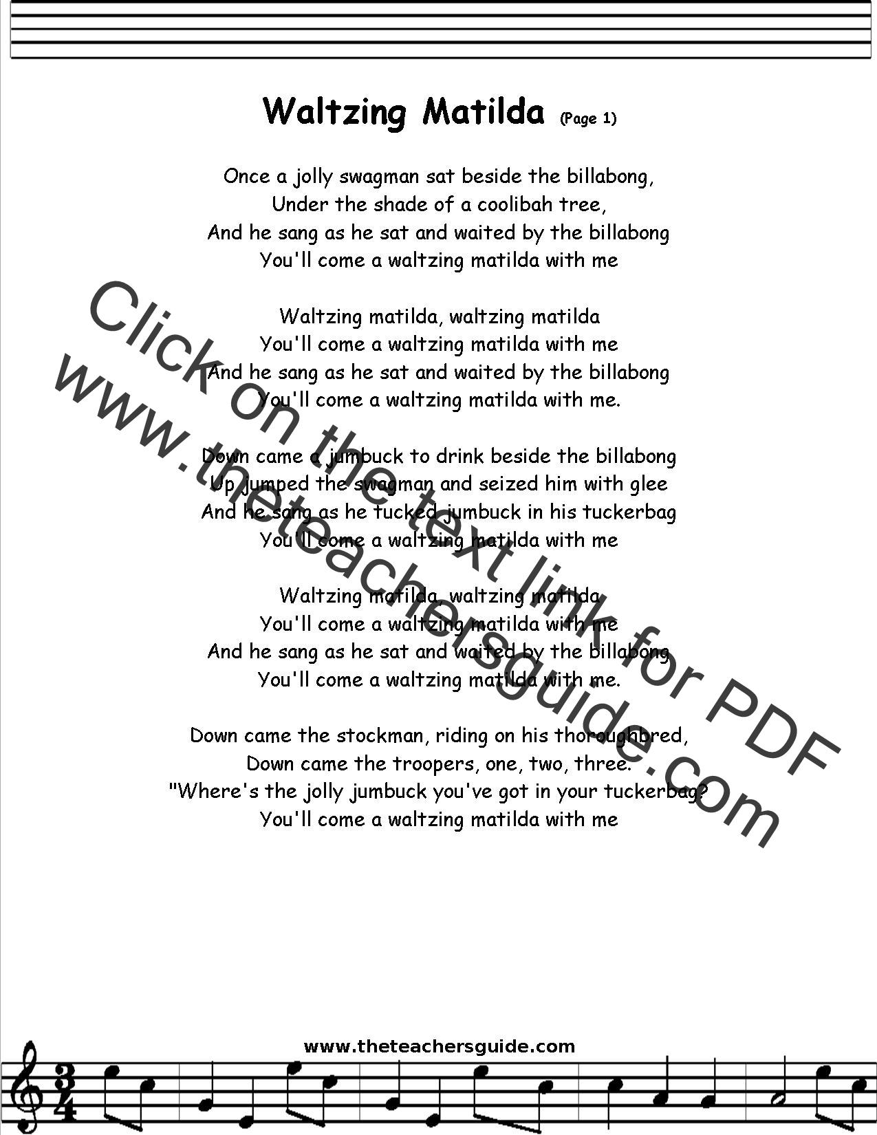 Waltzing Matilda Lyrics Printout Midi And Video