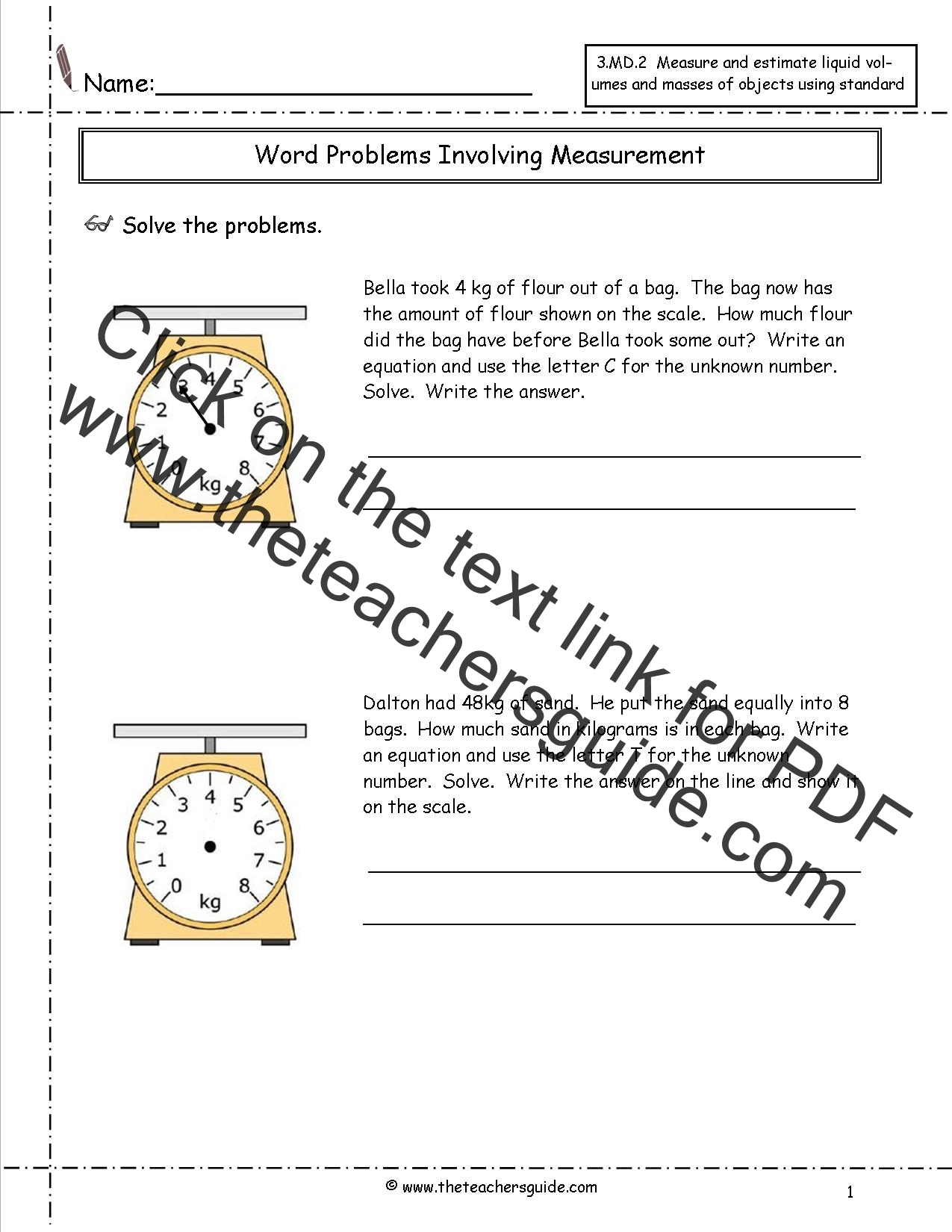 Standards Of Measurement Worksheet Answers