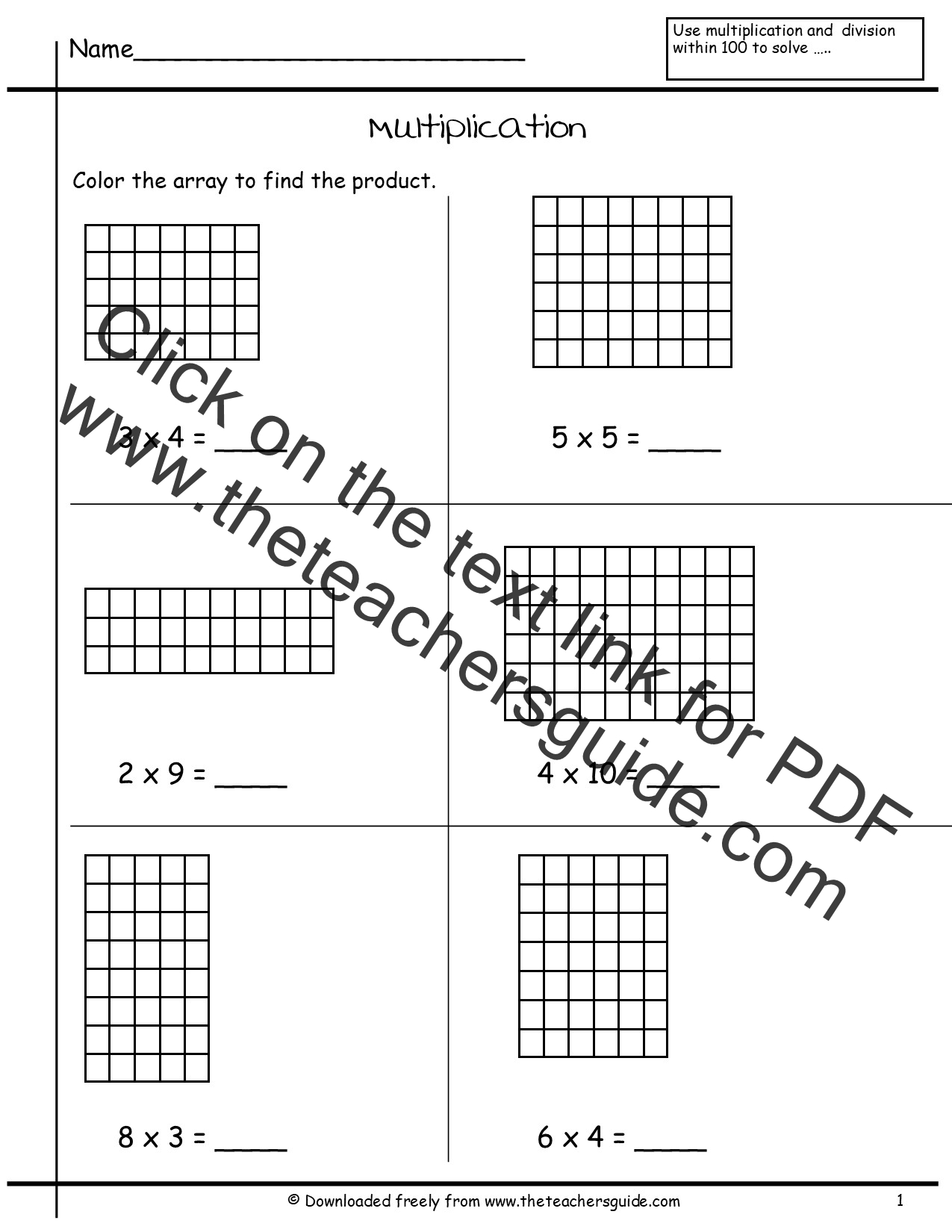 Division Arrays Worksheets Tes