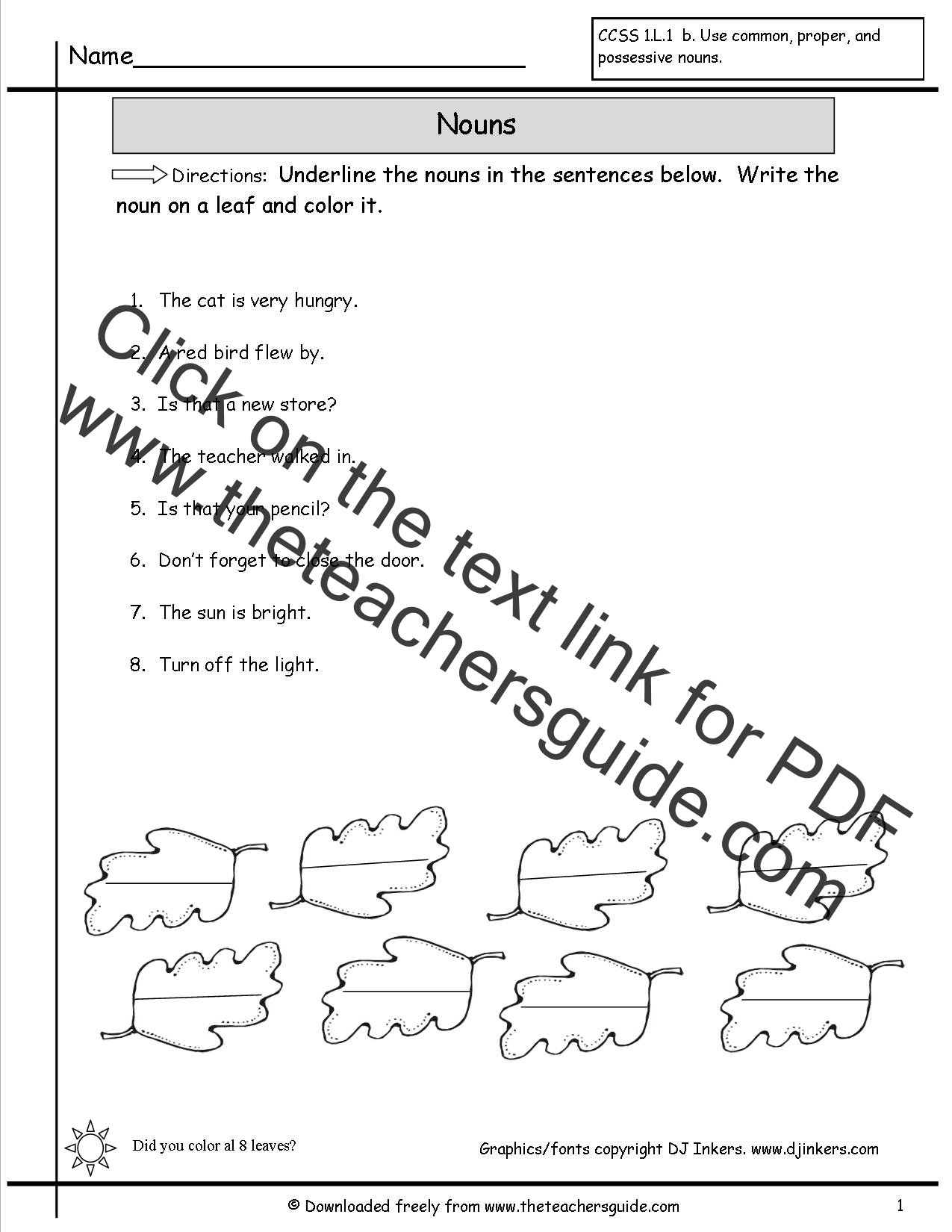 Nouns Worksheets From The Teacher S Guide