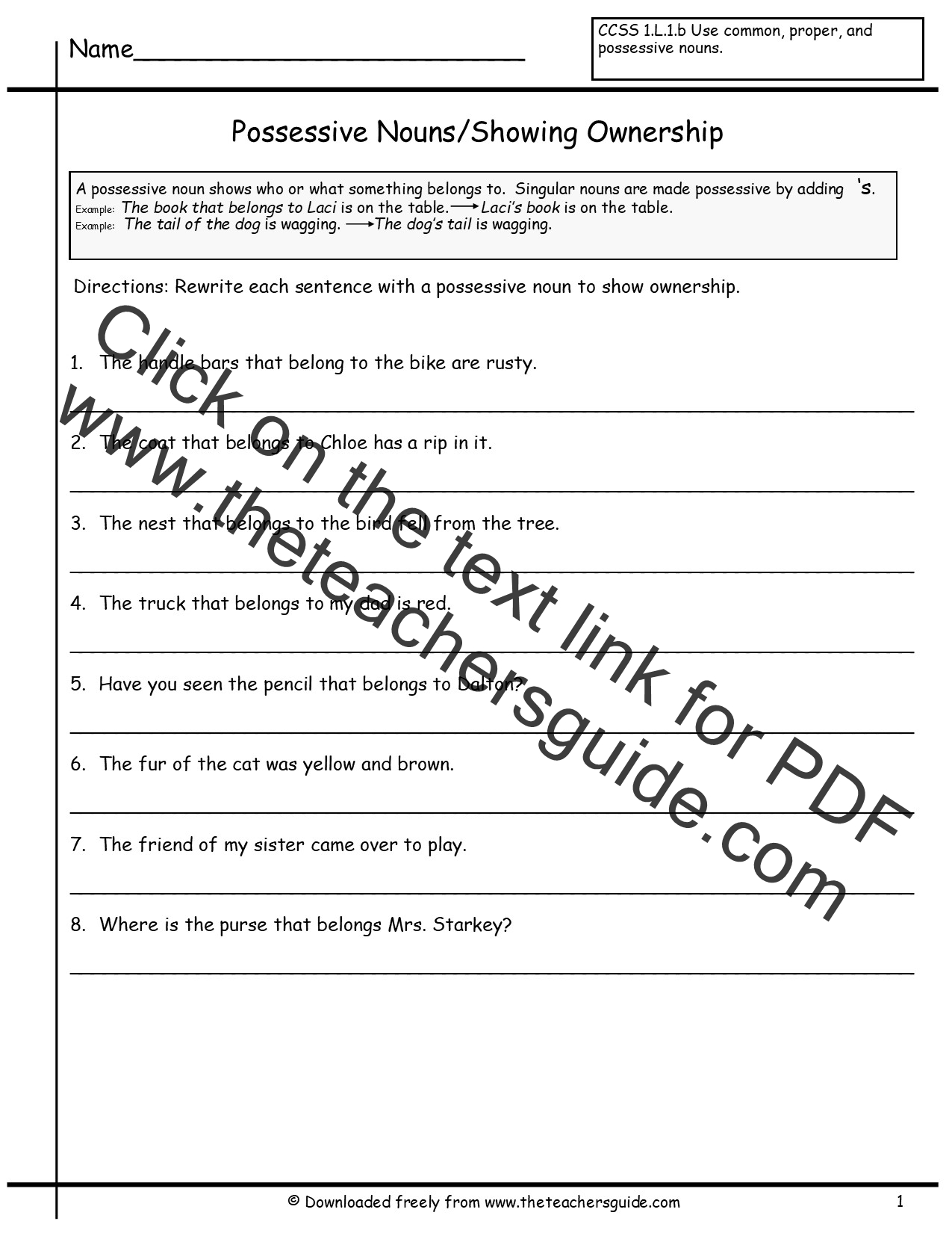 Possessive Nouns Worksheets From The Teacher S Guide
