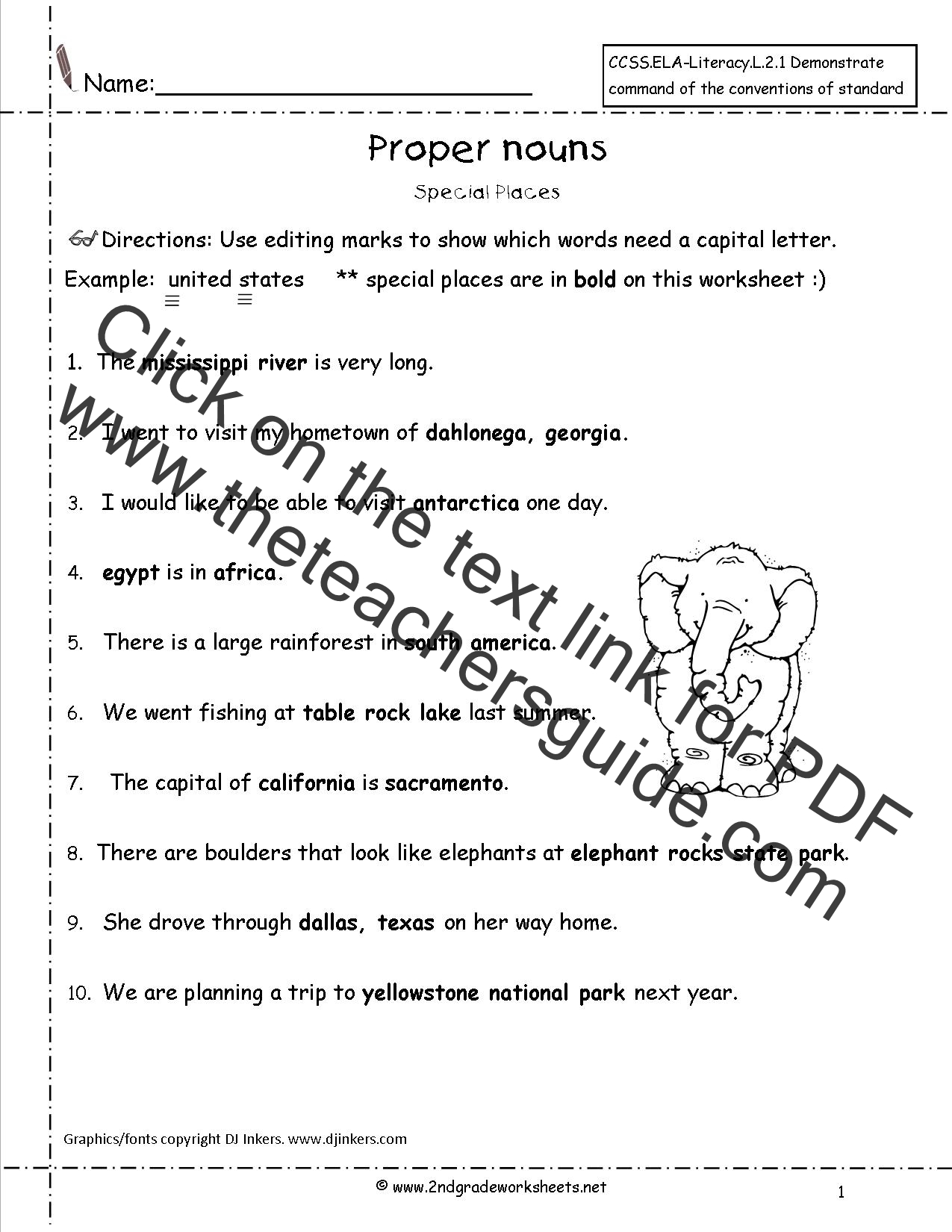 Common And Proper Noun Worksheet 4th Grade