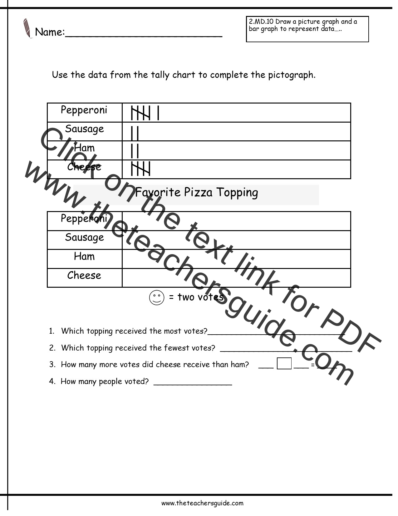 Reading And Creating Pictographs Worksheets From The Teacher S Guide