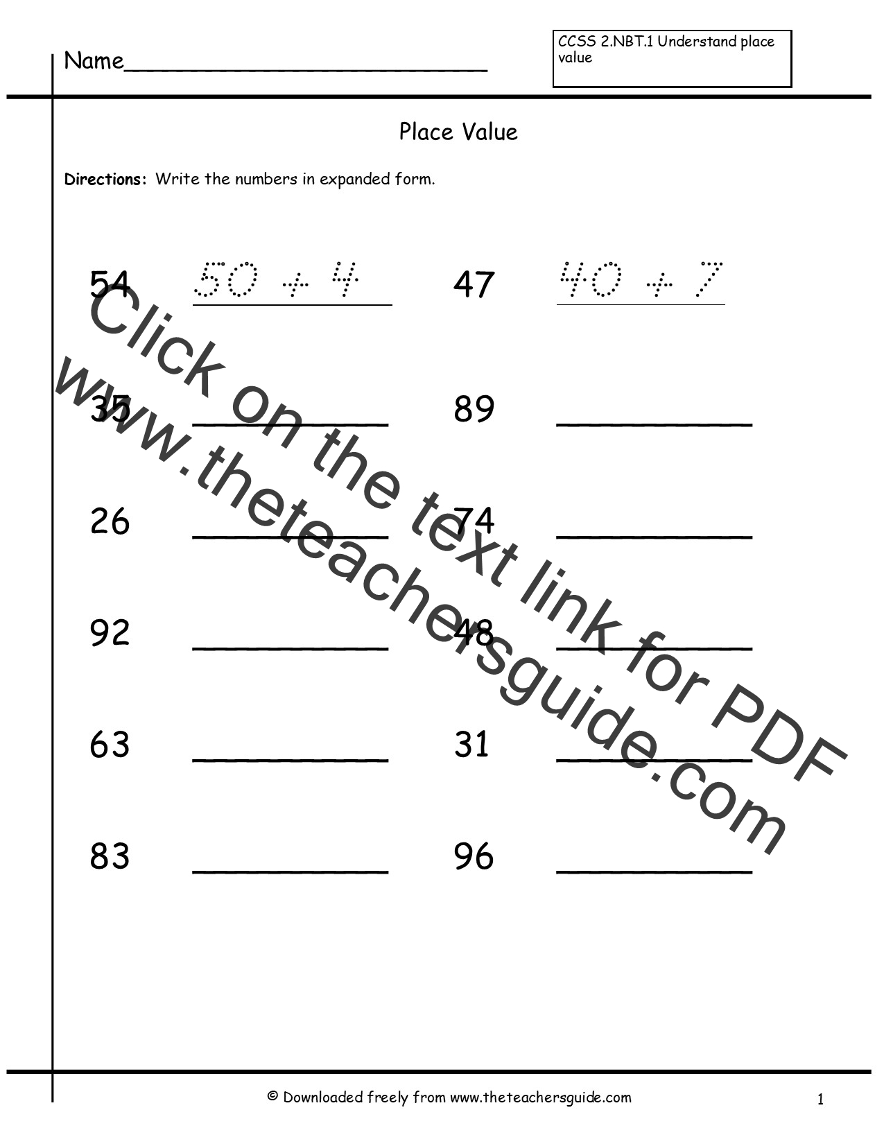 7 Digit Place Value Worksheet