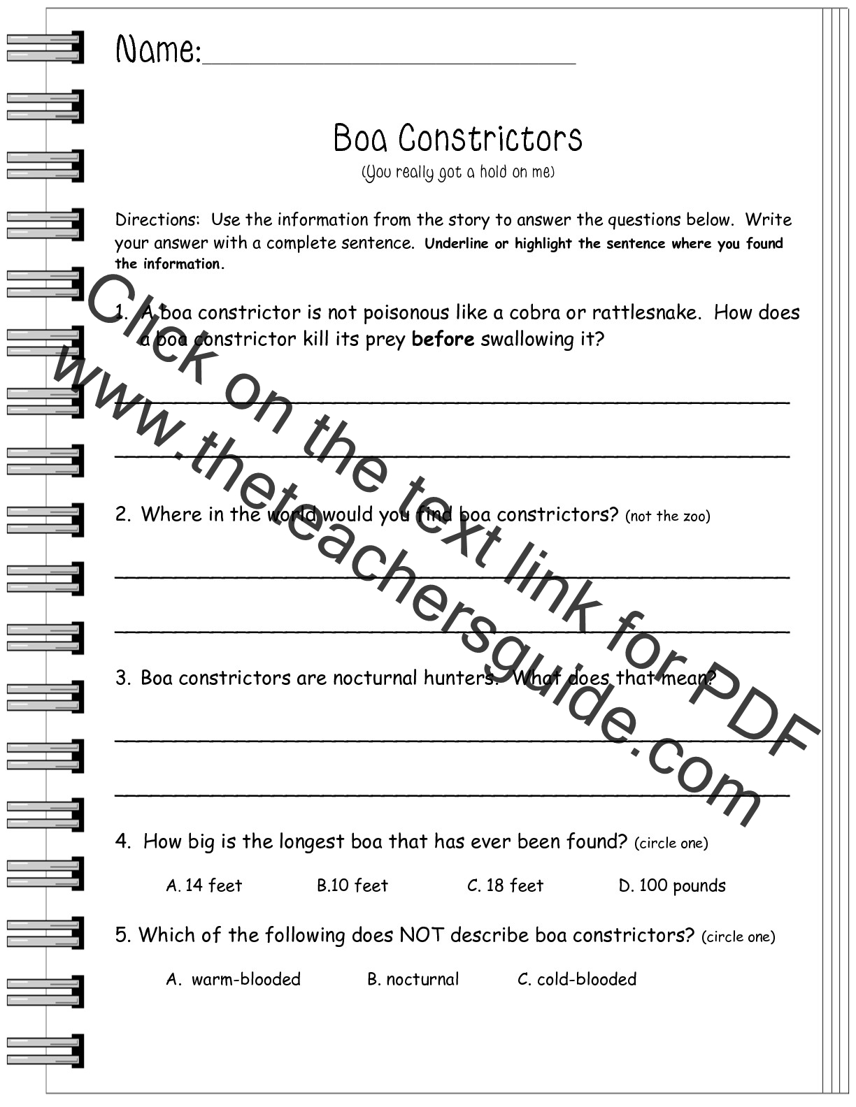 Informational Text Worksheets And Printouts From The Teacher S Guide