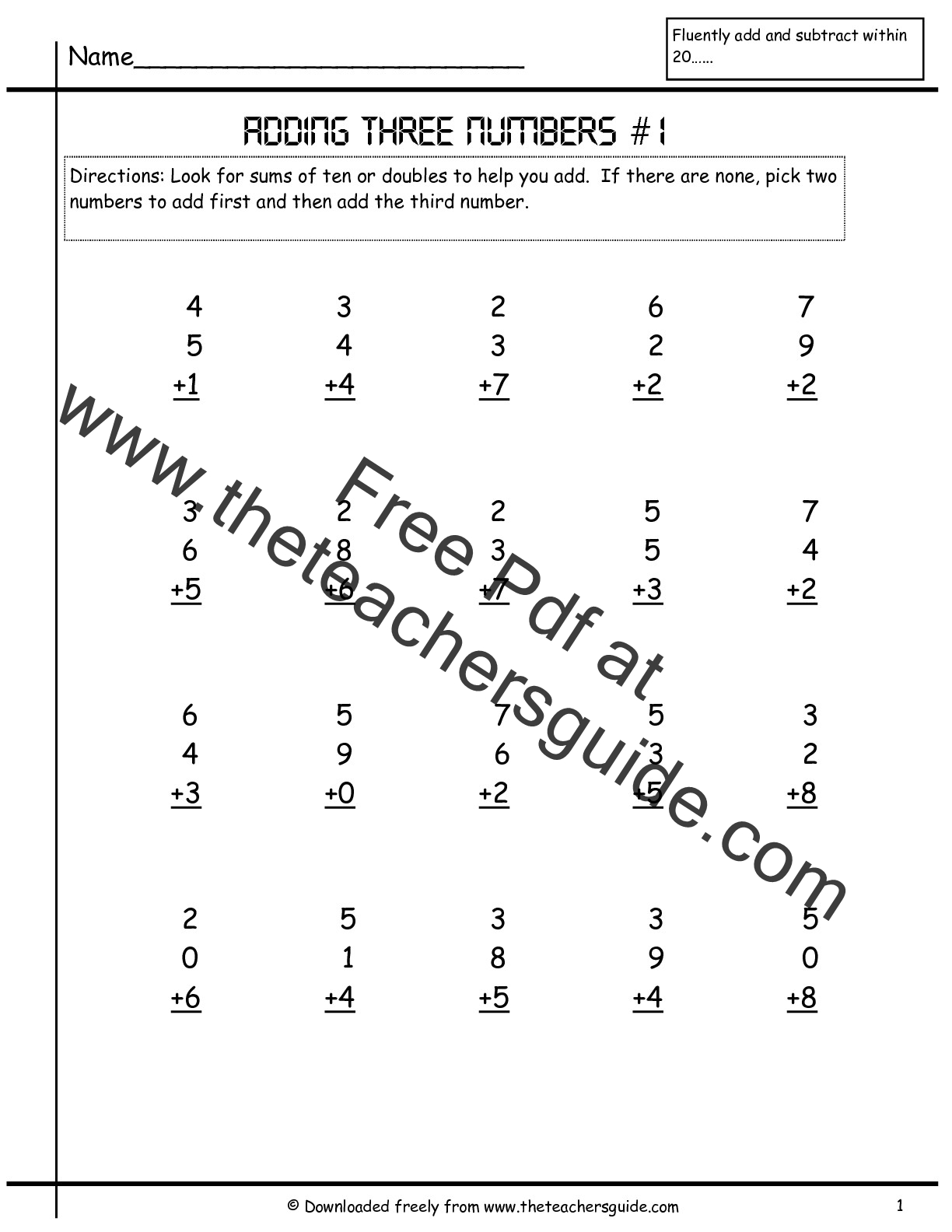 Adding Three Single Digit Numbers Worksheets From The