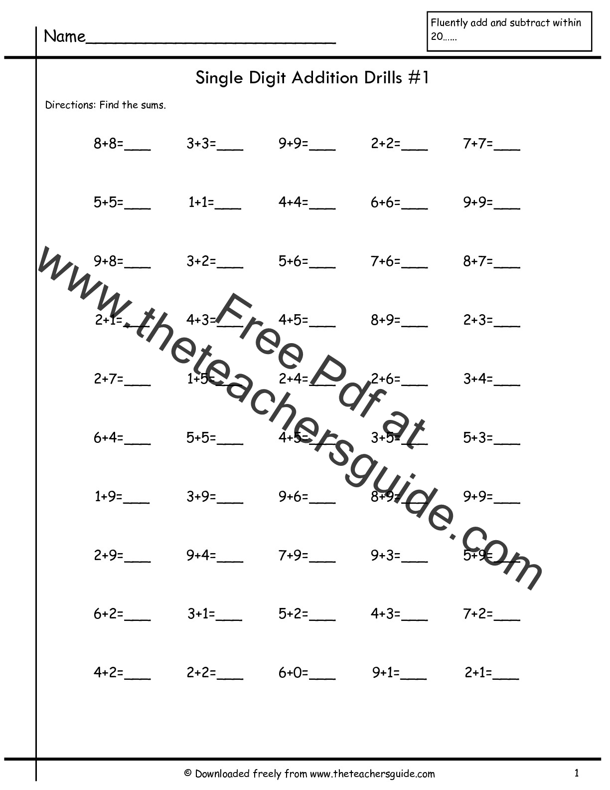 Addition And Subtraction Within 10 Worksheets