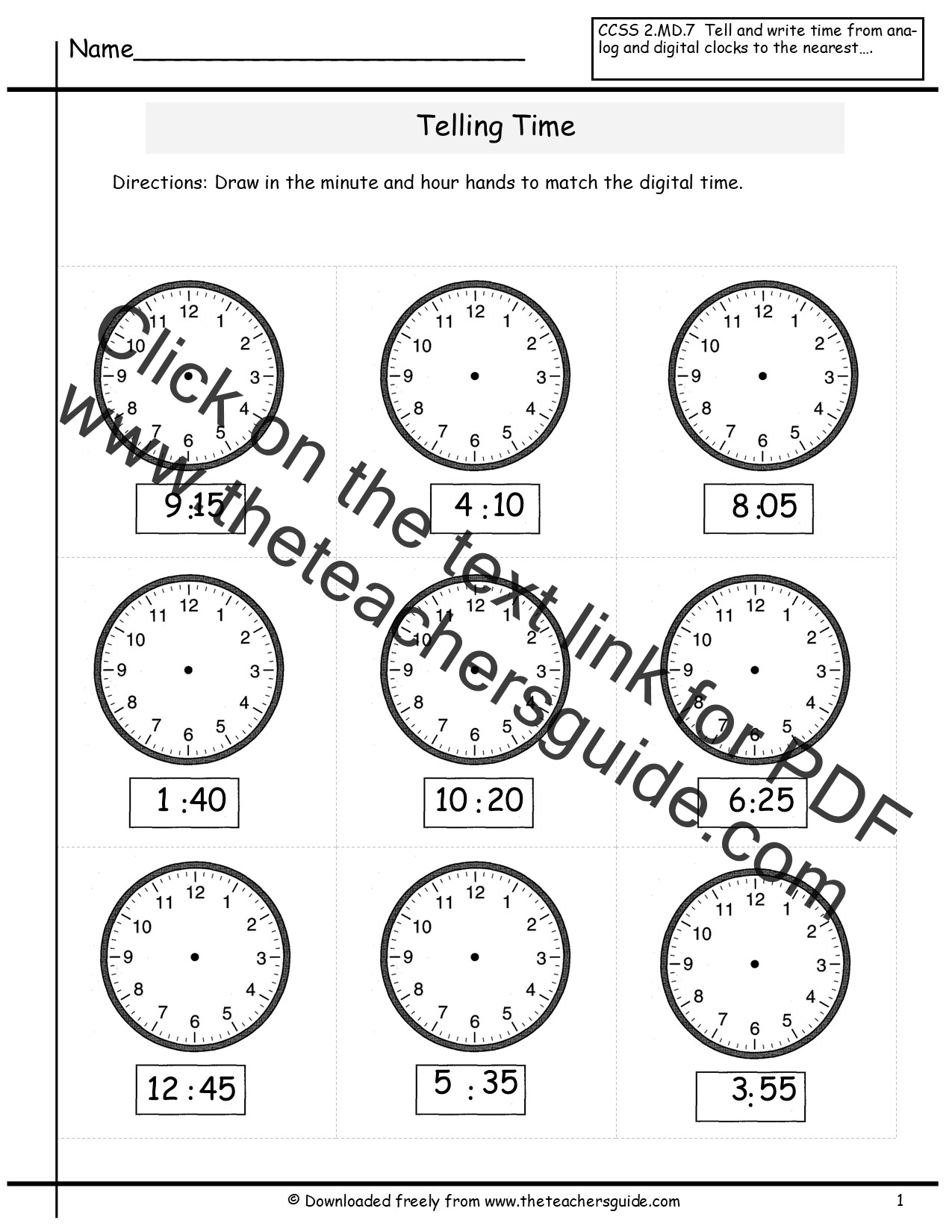 Printable Time Worksheet Half